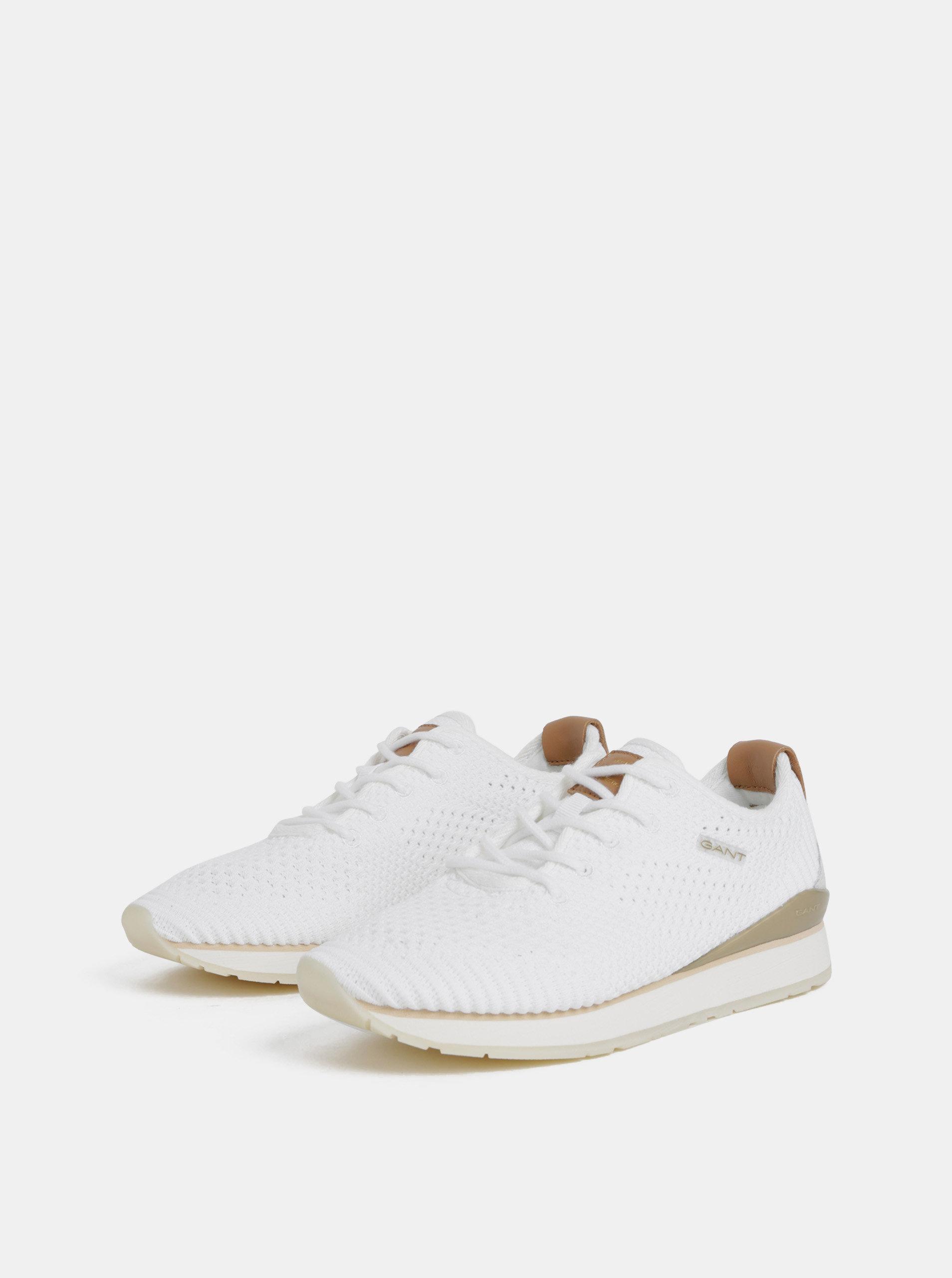 48028b2257788 Biele dámske tenisky s koženými detailmi GANT Linda | ZOOT.sk