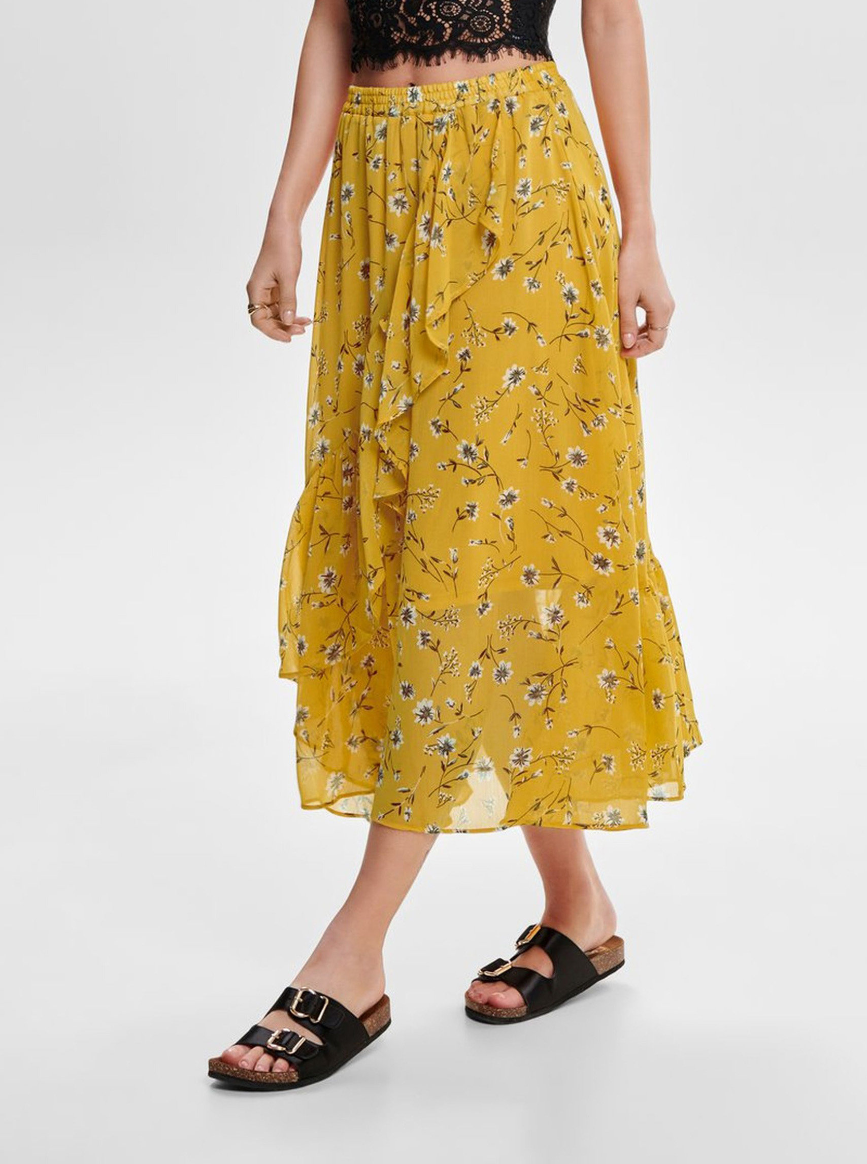 Hořčicová květovaná midi sukně s volánem ONLY Sheena