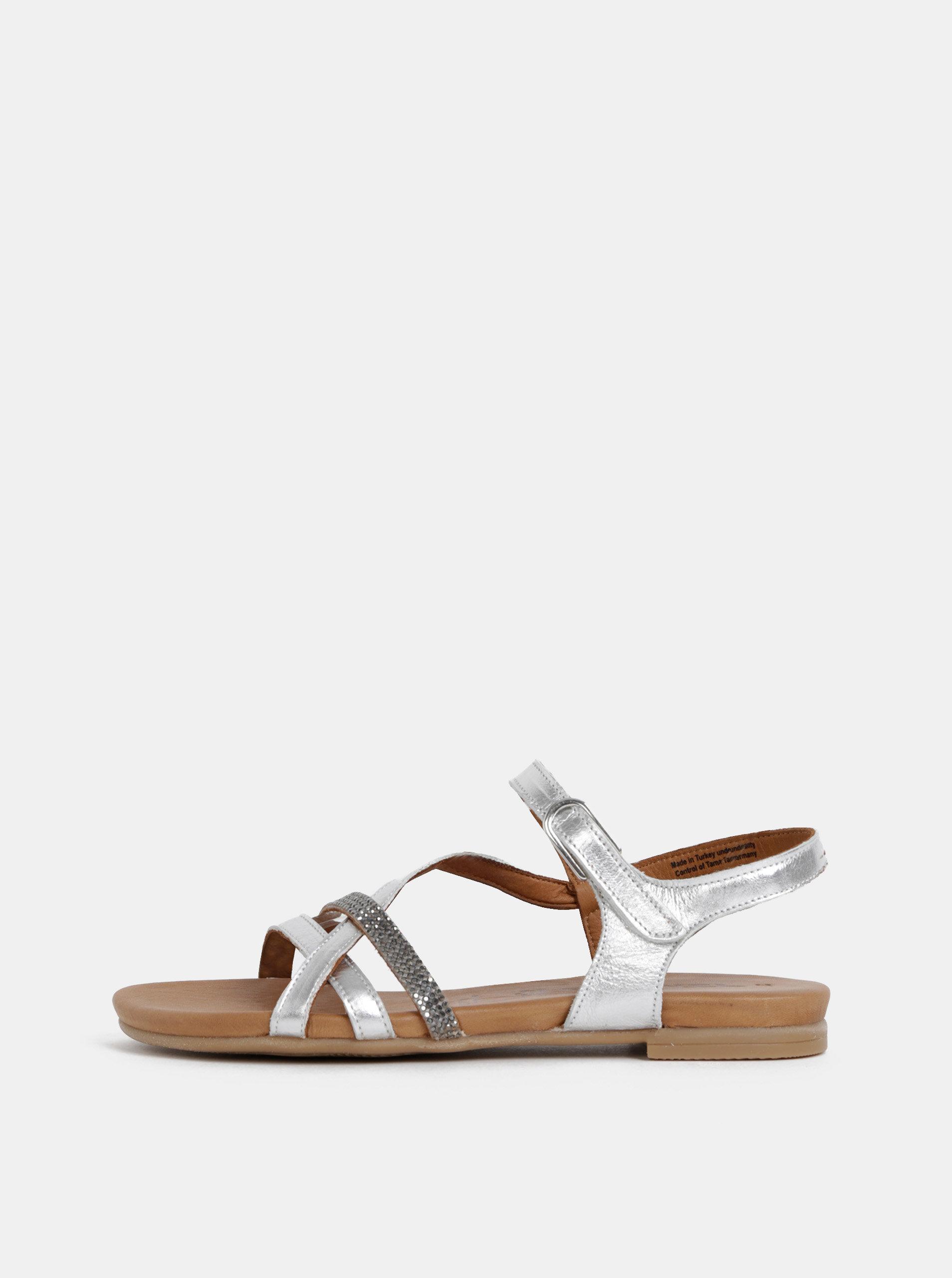 e42ceee49 Kožené sandále v striebornej farbe Tamaris | ZOOT.sk