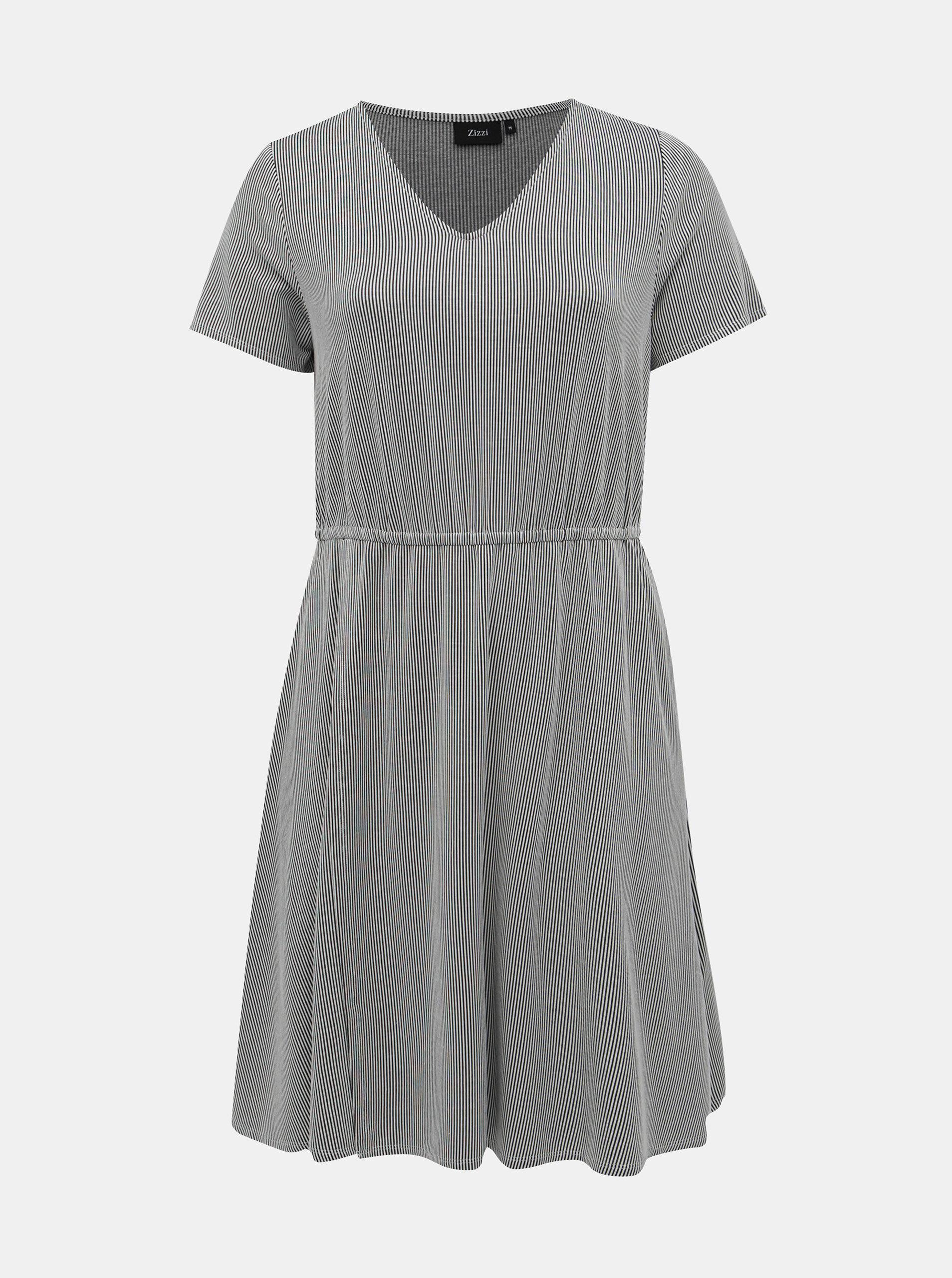 Černo-bílé pruhované šaty Zizzi Laska
