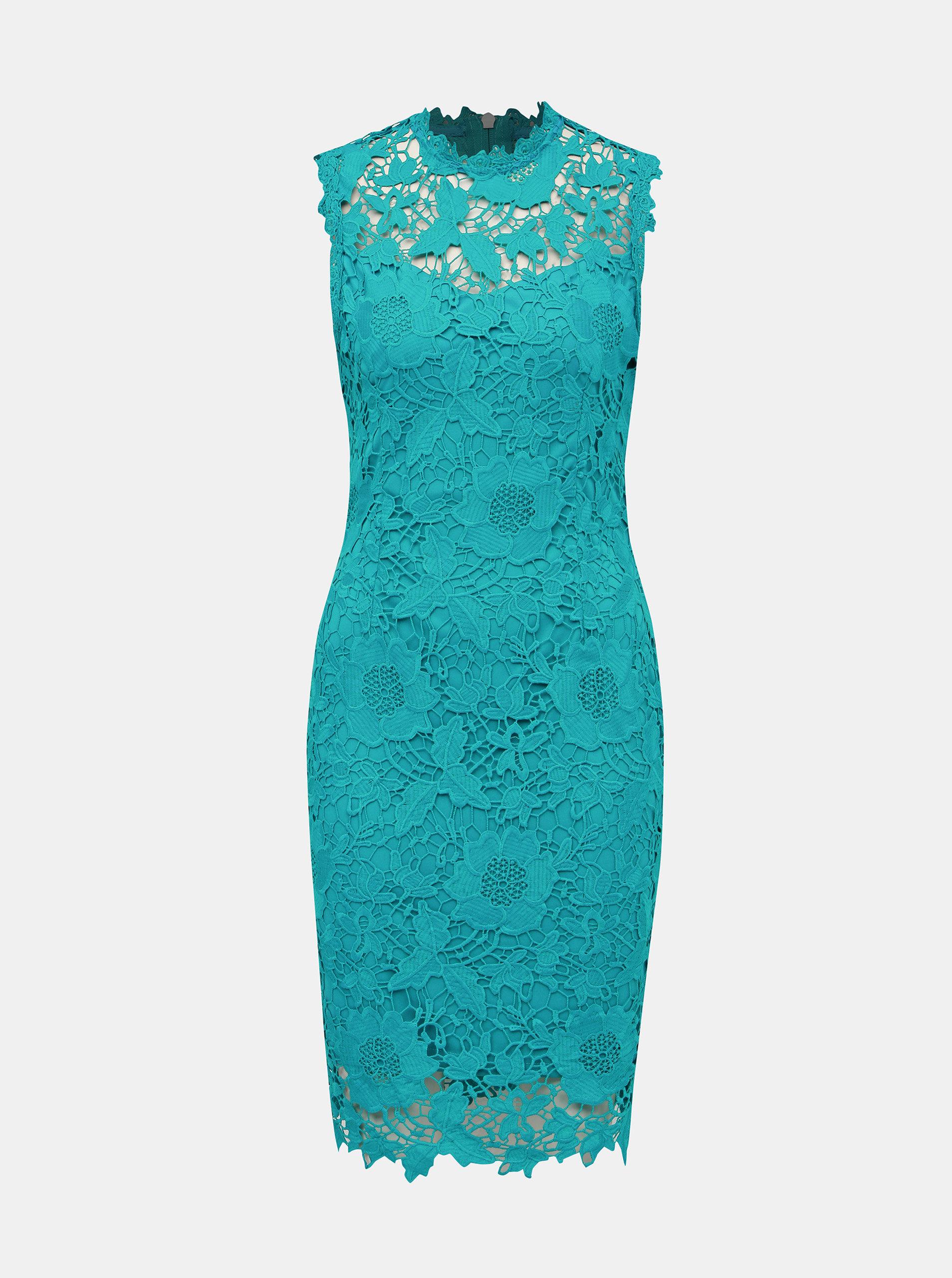 e60731006 Tyrkysové krajkové pouzdrové šaty Dorothy Perkins | ZOOT.cz