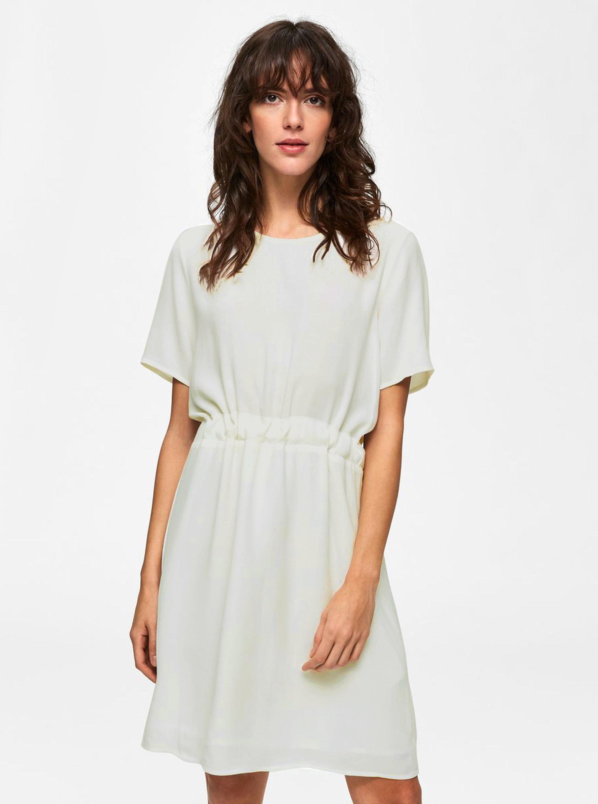Bílé volné šaty se zavazováním v pase Selected Femme Tanna