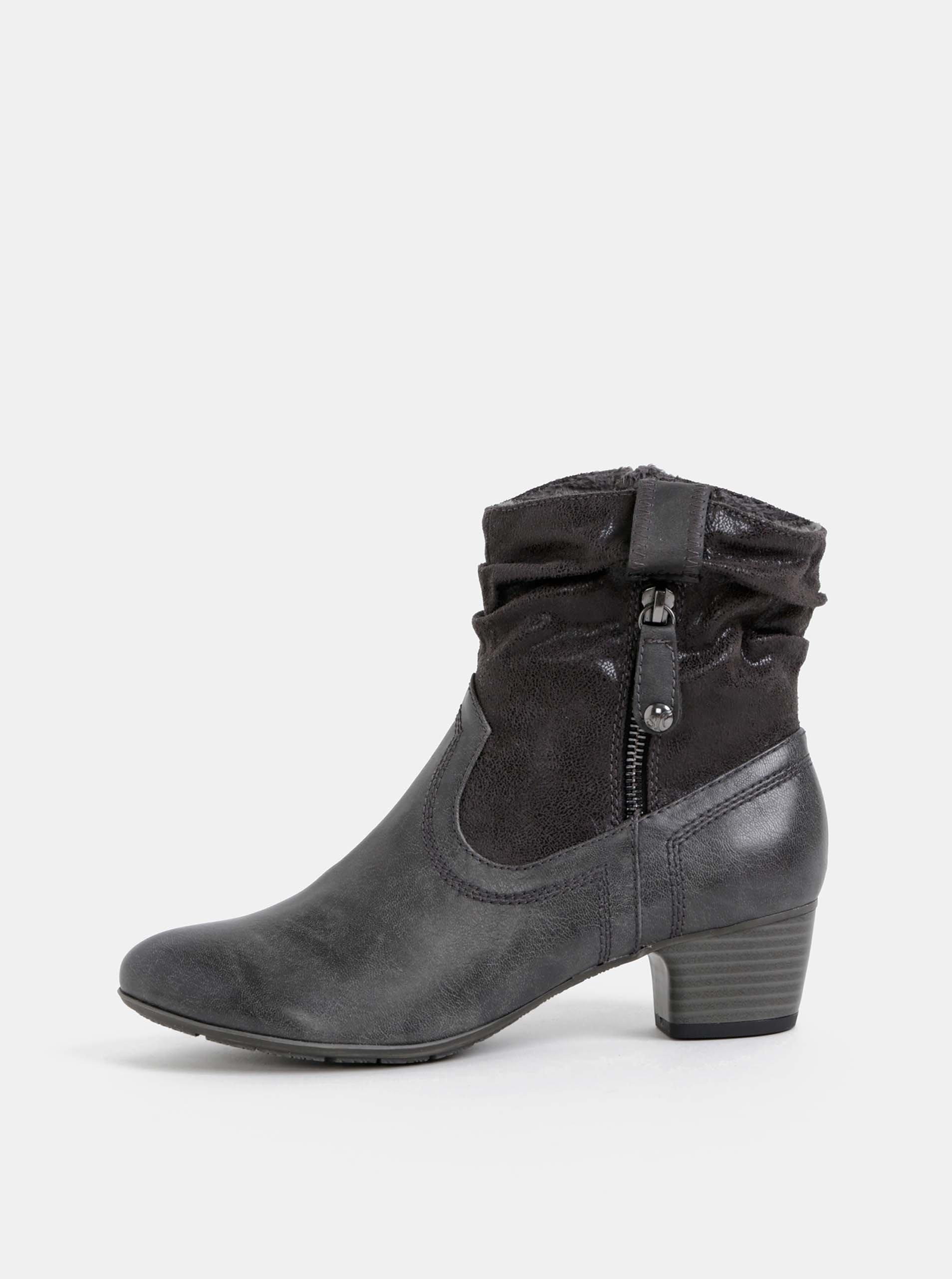 Tmavě šedé dámské kotníkové boty s.Oliver