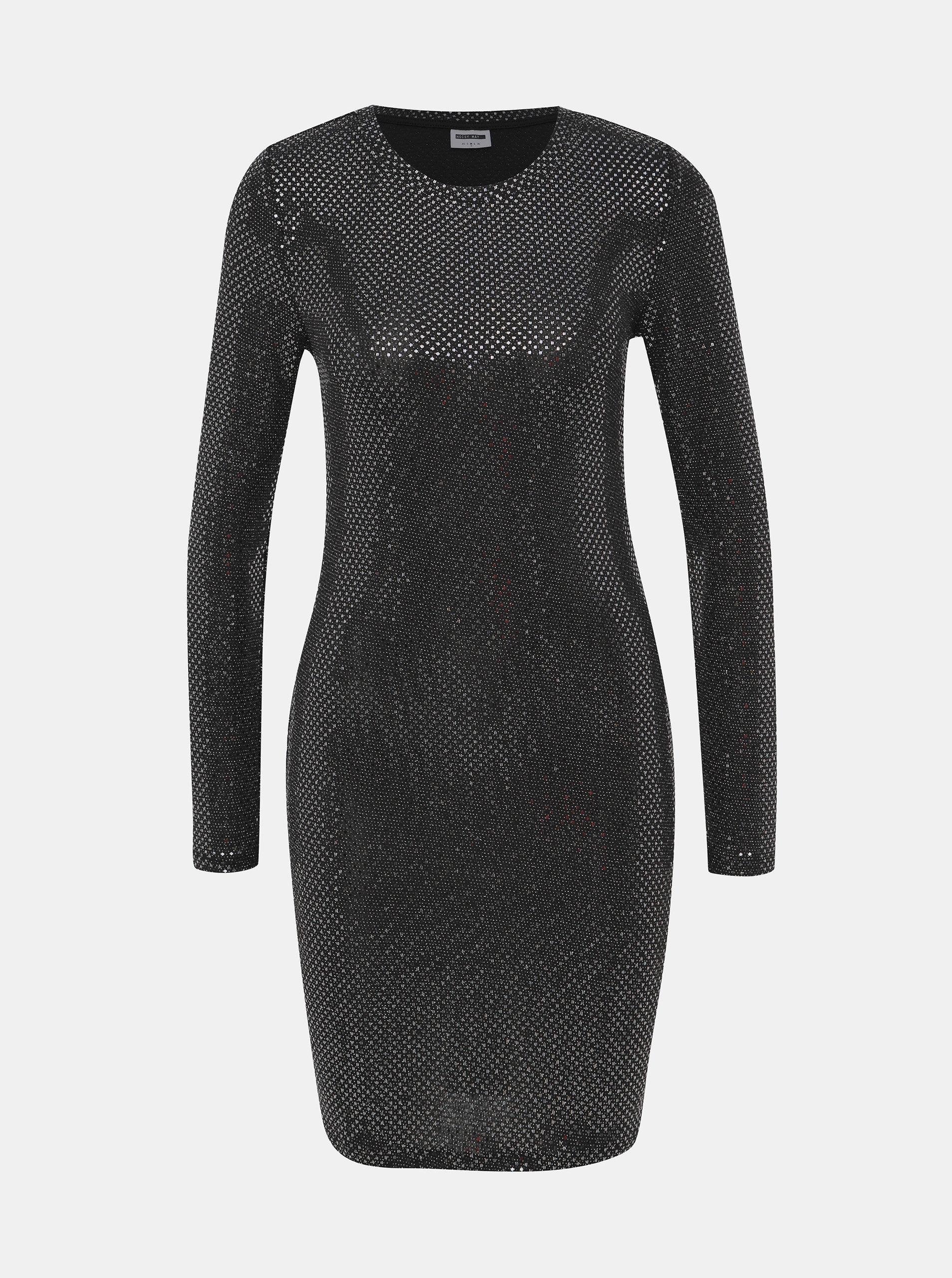 Černé pouzdrové šaty s odlesky ve stříbrné barvě Noisy May Night