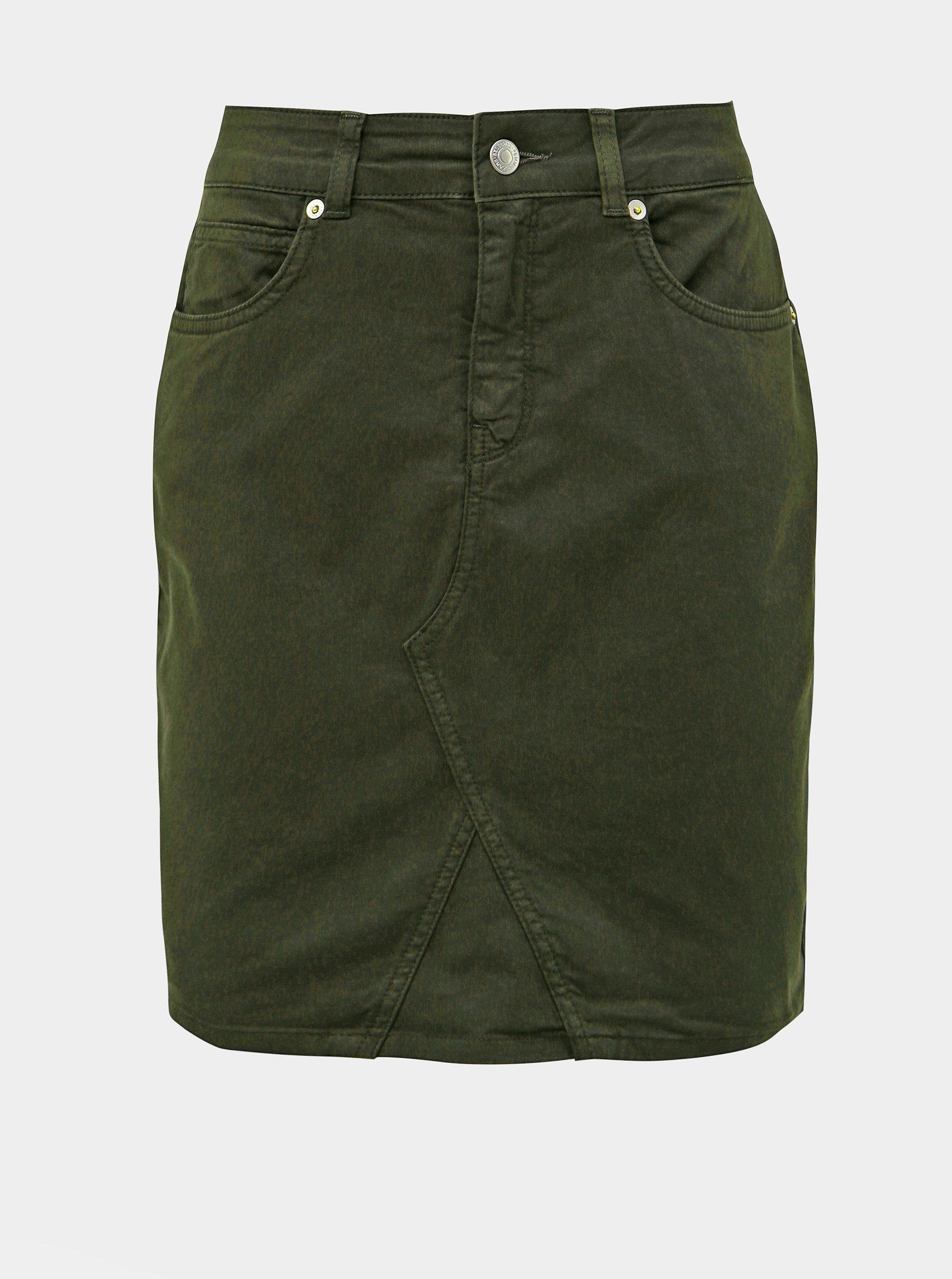 Khaki džínová sukně Selected Femme Megan