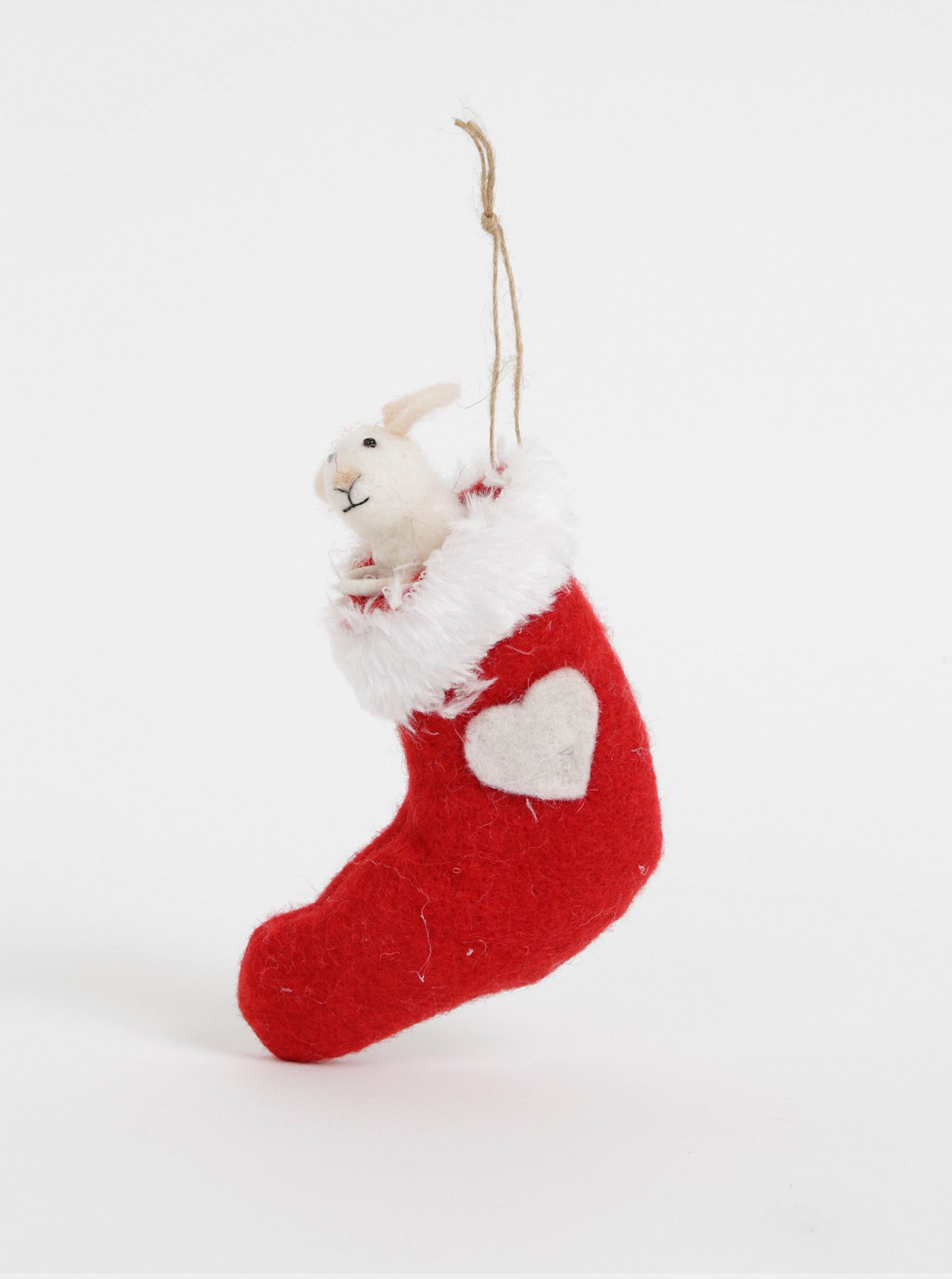 Červená závěsná vánoční dekorace s příměsí vlny ve tvaru myši v punčoše Sass & Belle