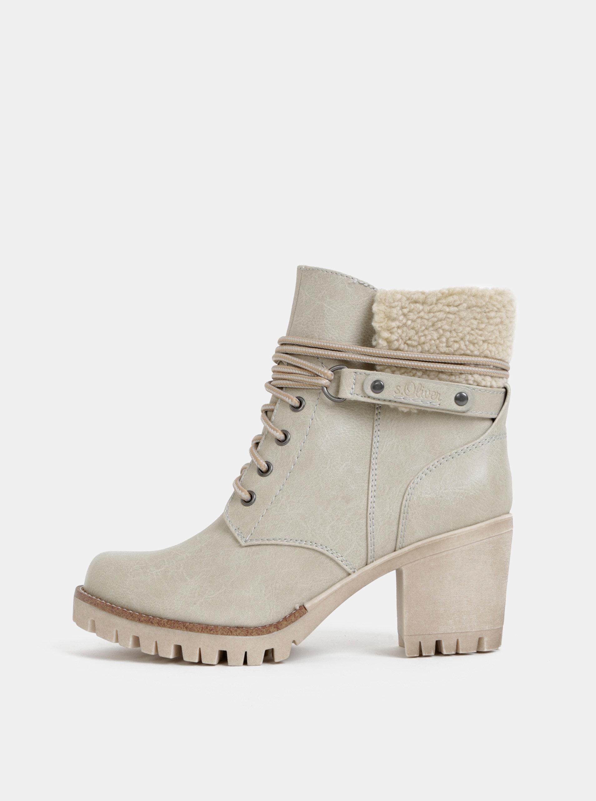 Šedé dámské zimní kotníkové boty s.Oliver