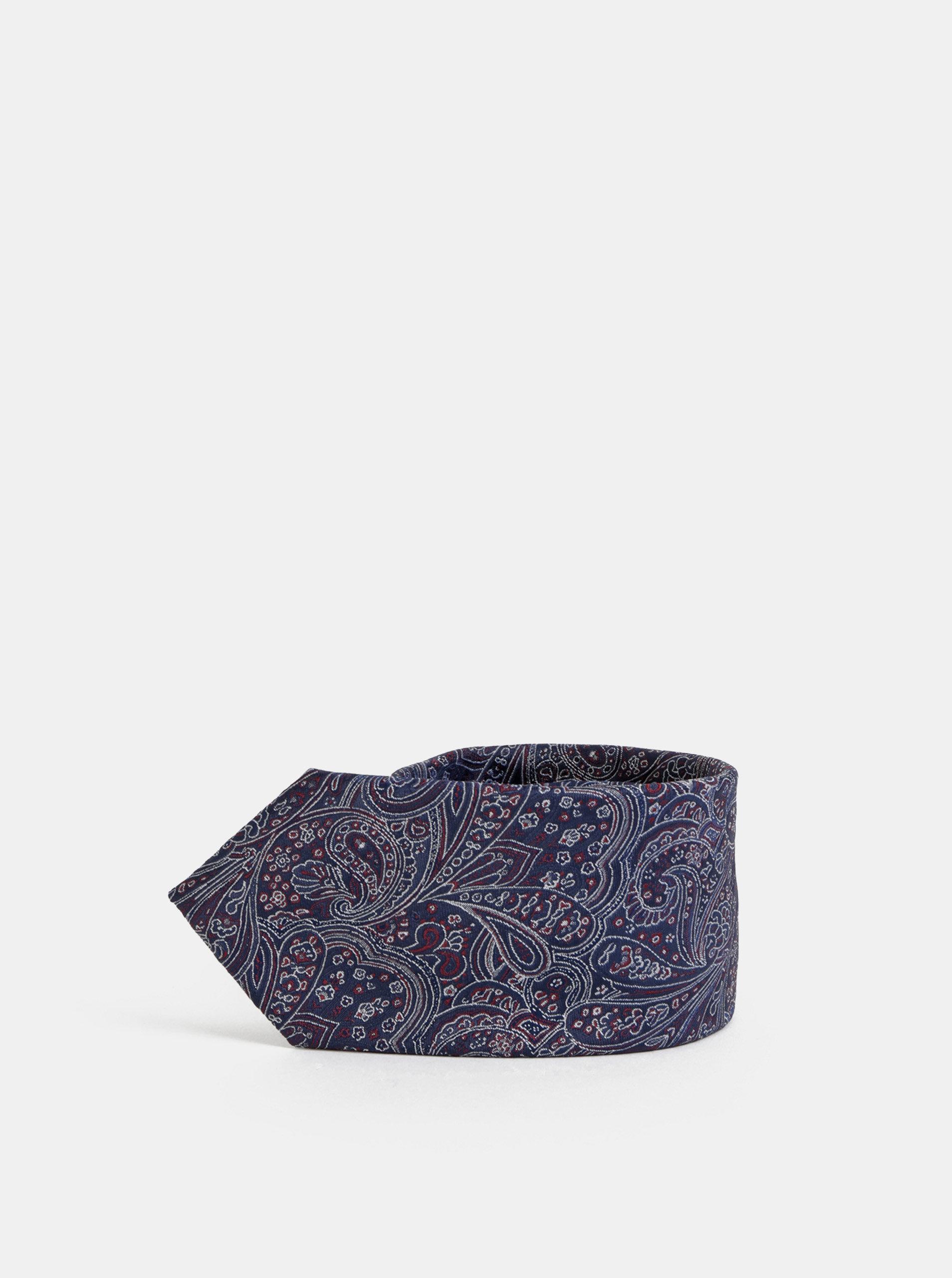 Tmavě modrá vzorovaná kravata Selected Homme Martin