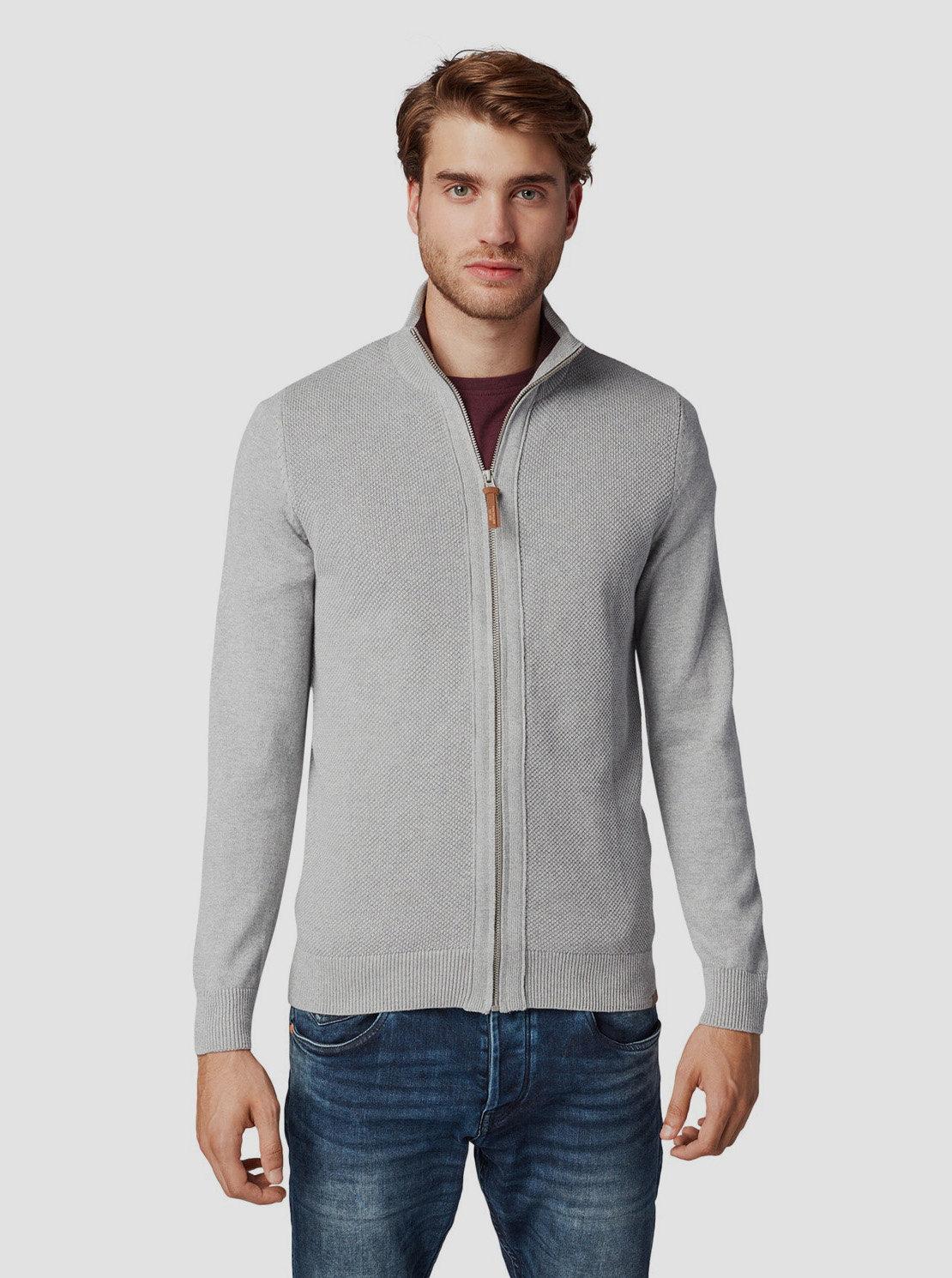 Šedý pánský svetr na zip Tom Tailor
