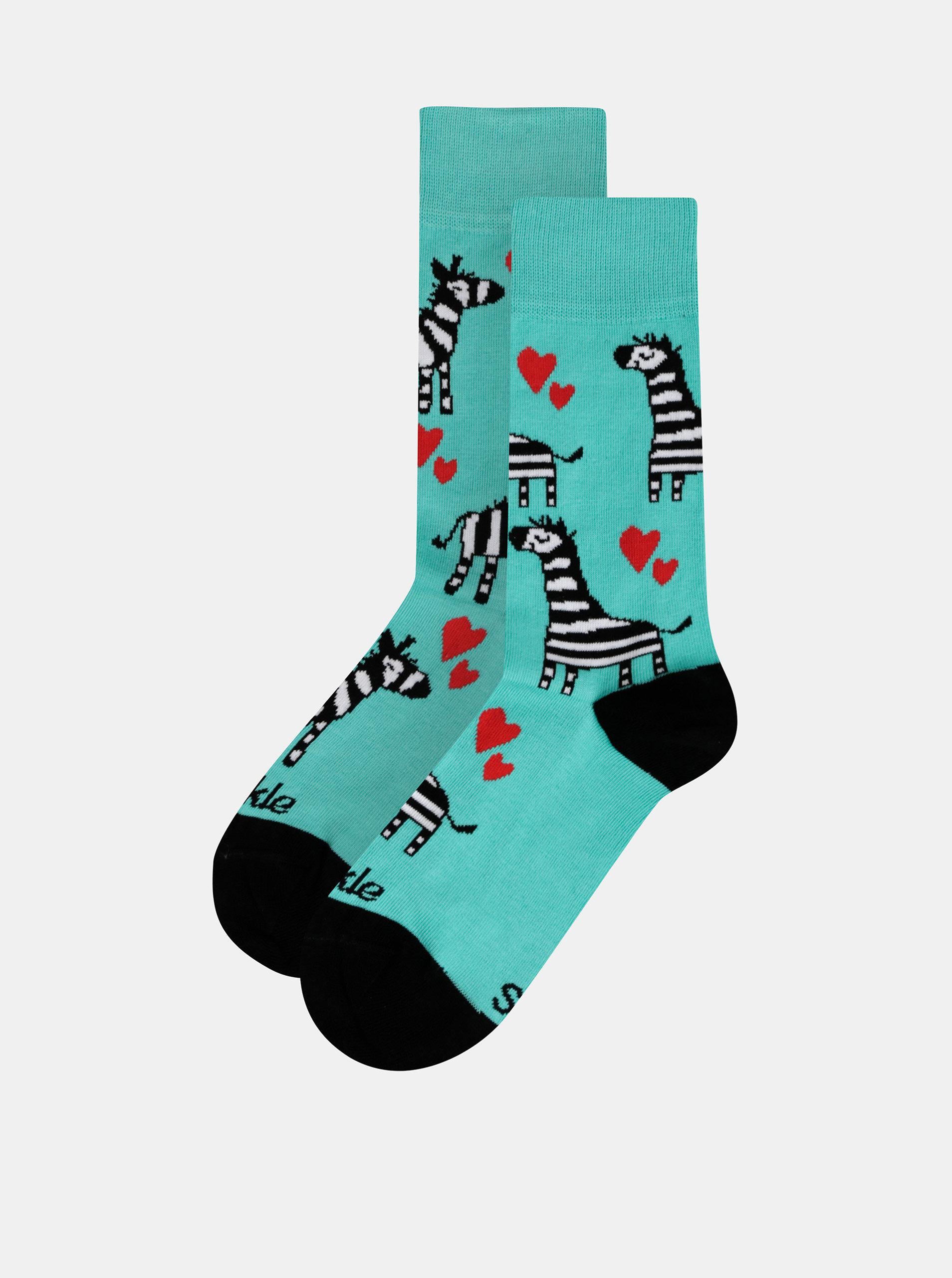 Zelené vzorované ponožky Fusakle Zebra