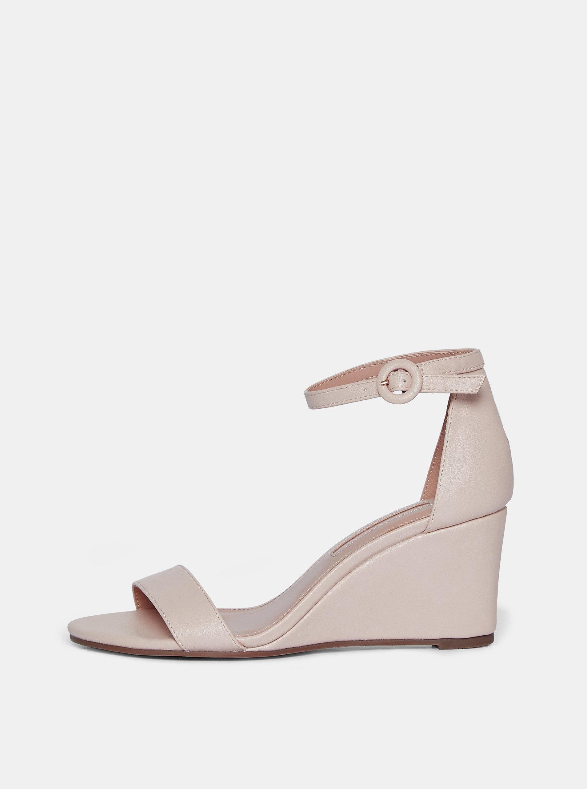 Světle růžové sandály na klínku Dorothy Perkins