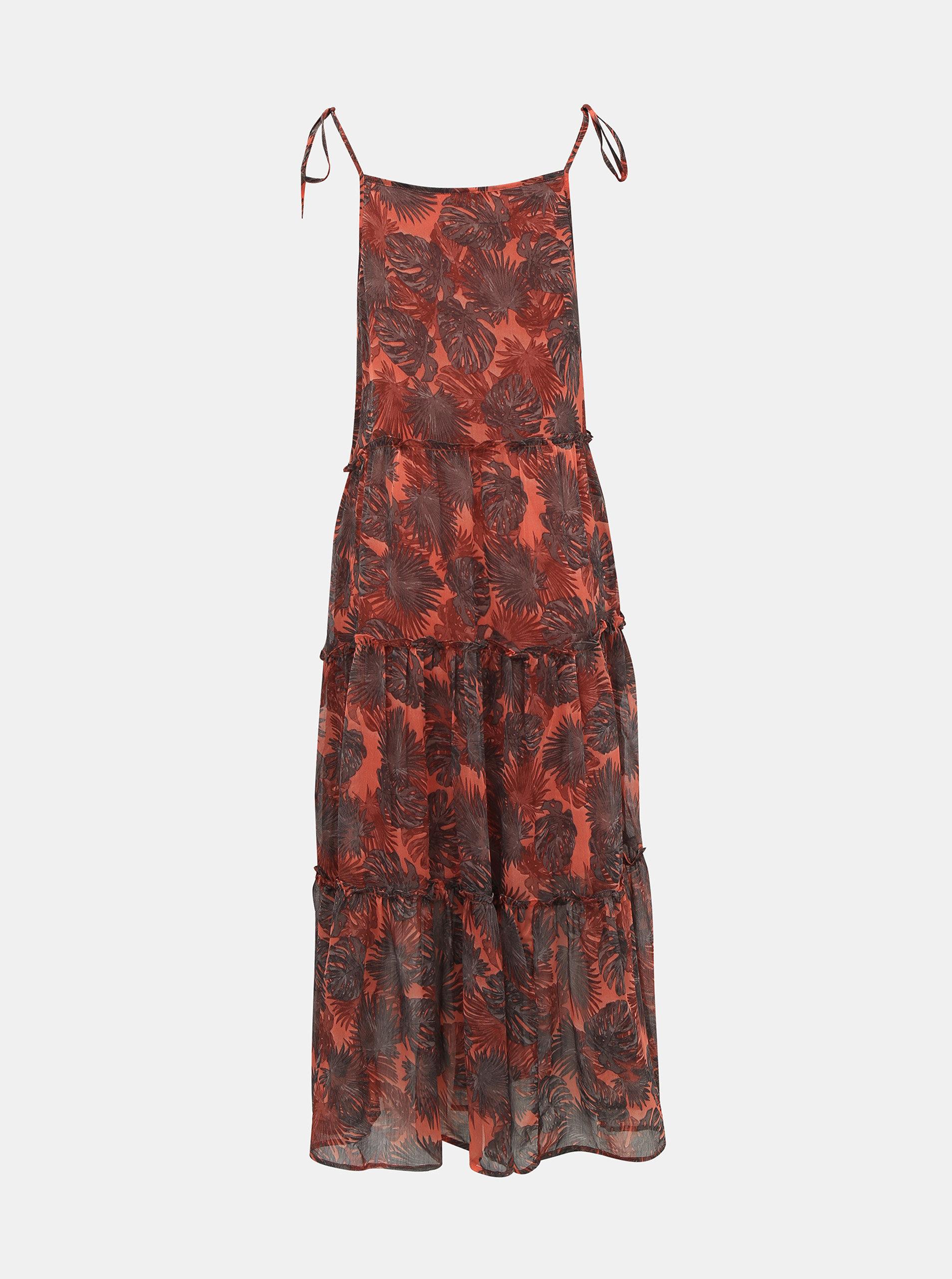 Hnědo-červené květované maxišaty Noisy May Palm