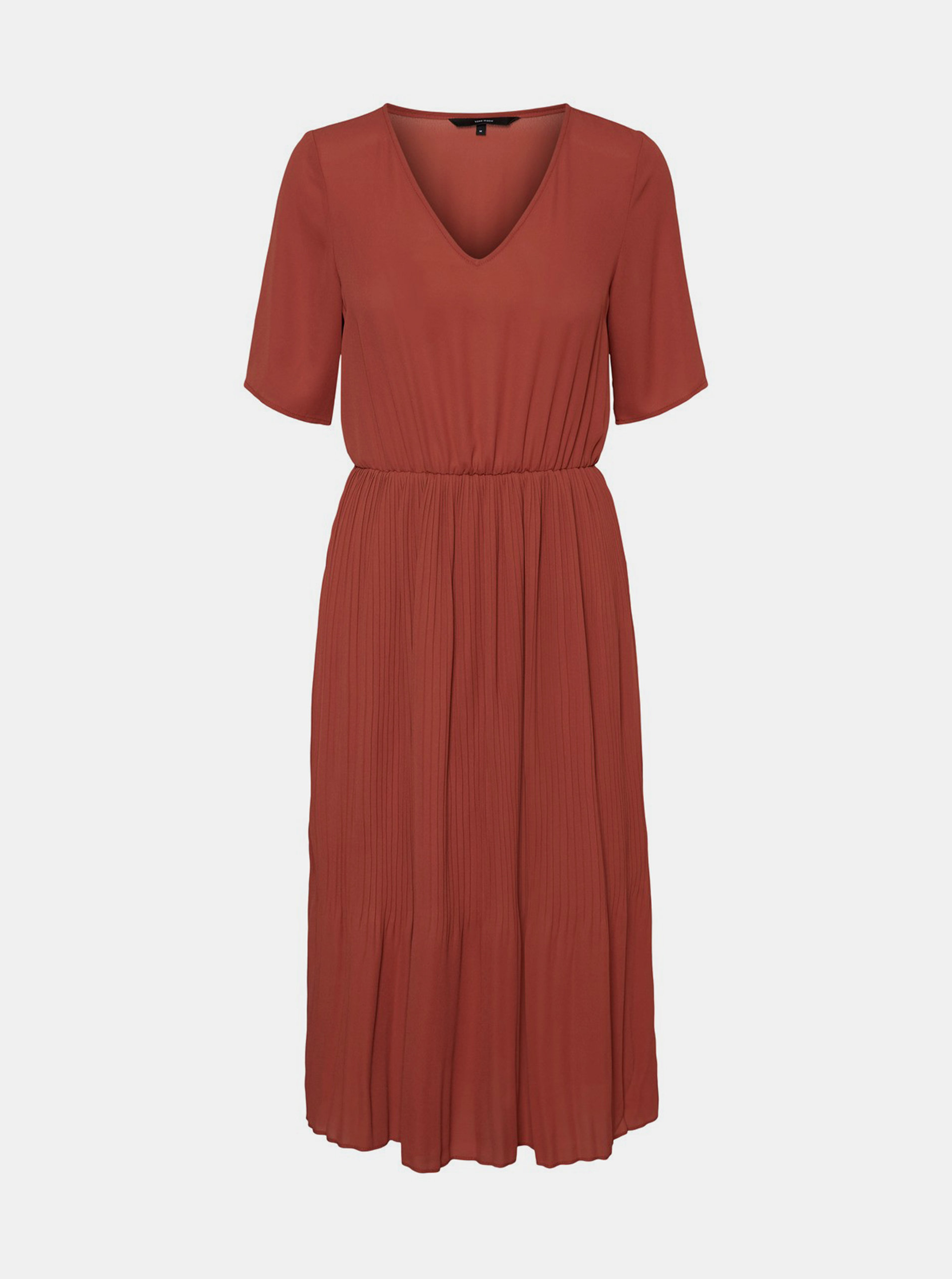Fotografie Hnědé midišaty s plisovanou sukní VERO MODA Malou
