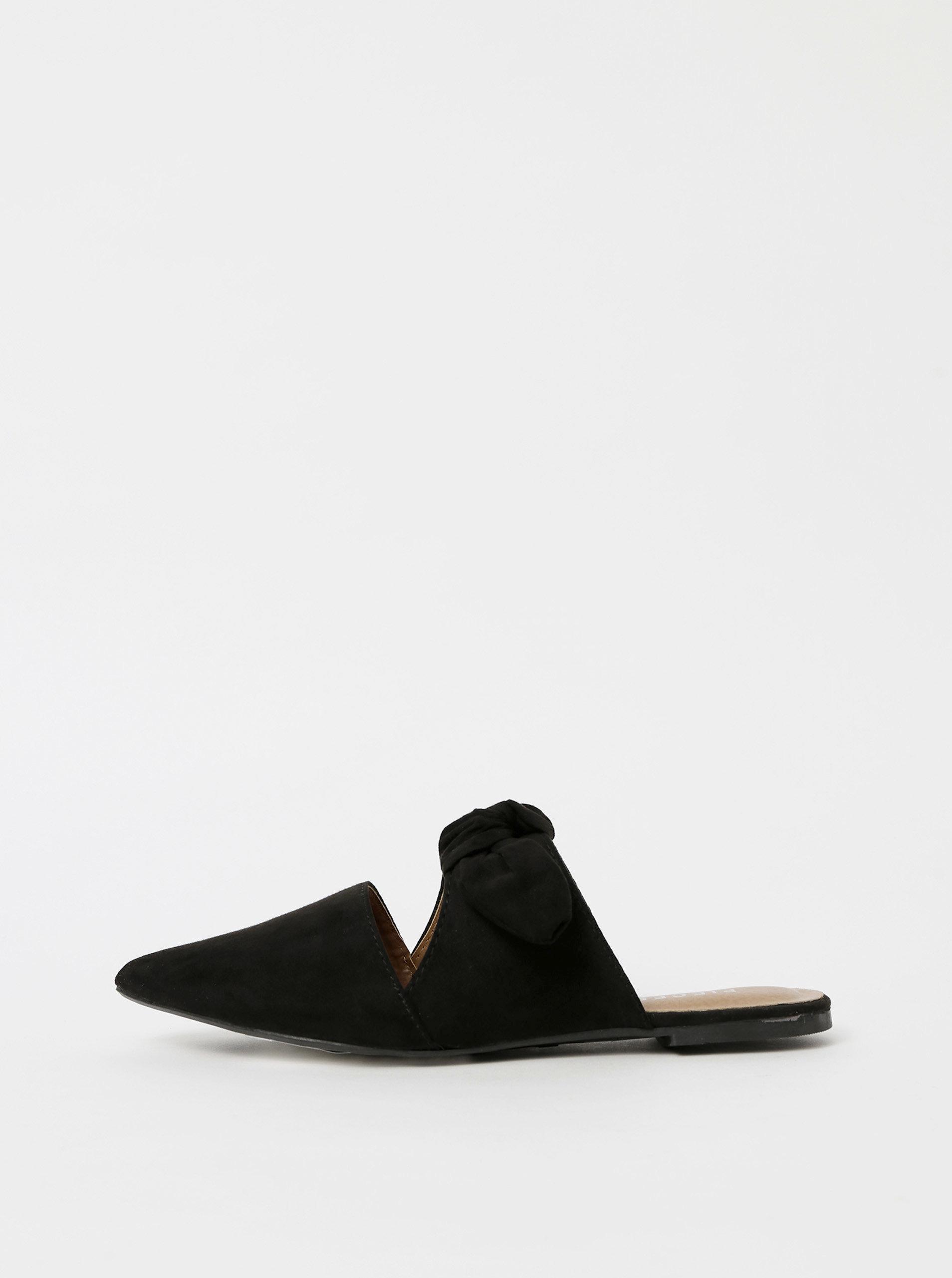 Černé pantofle v semišové úpravě Pieces Naya