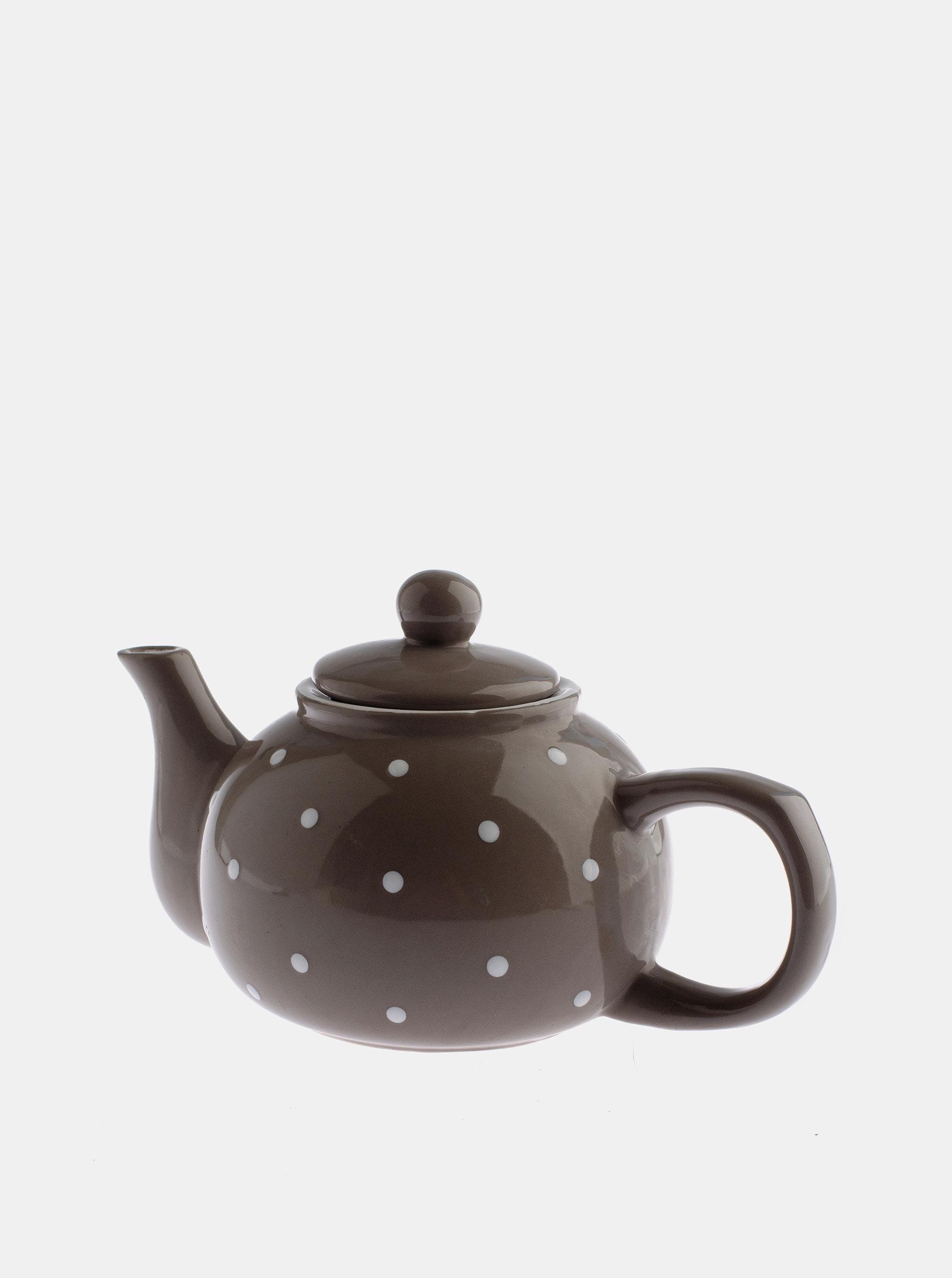 Šedá puntíkovaná konvička na čaj Dakls