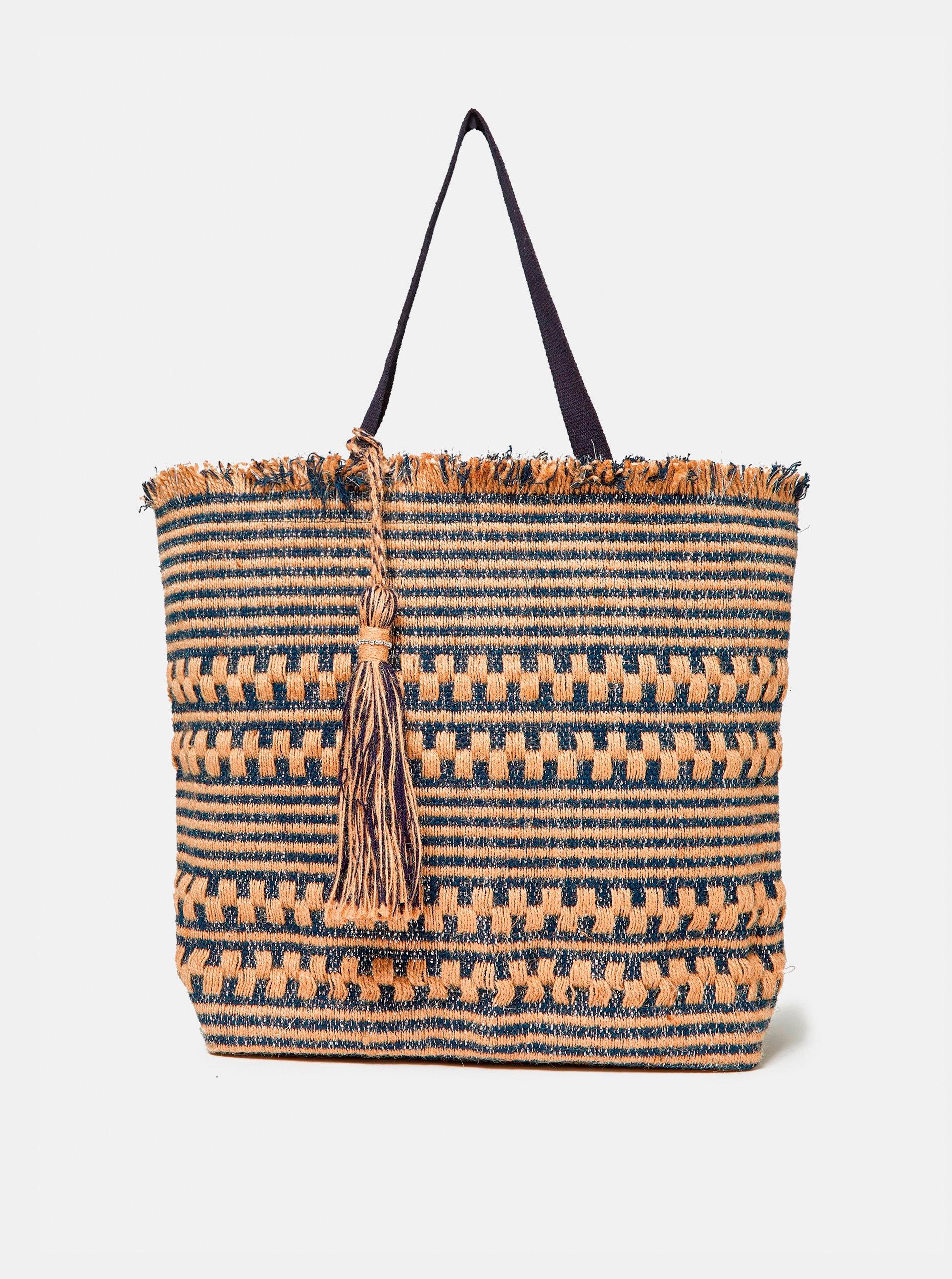 Béžovo-modrá plážová jůtová taška Dorothy Perkins