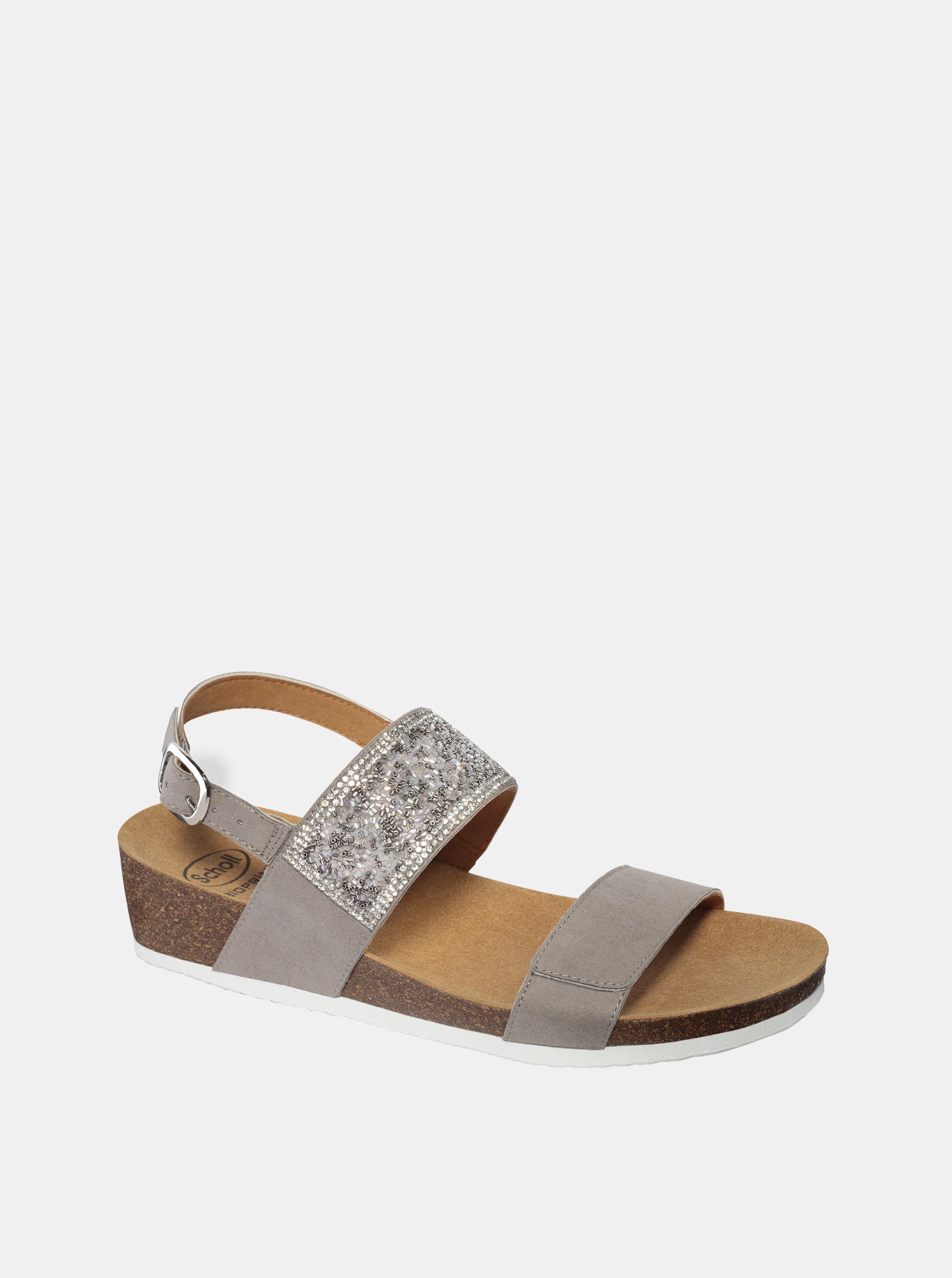 Šedé dámské sandály v semišové úpravě Scholl Cecilia