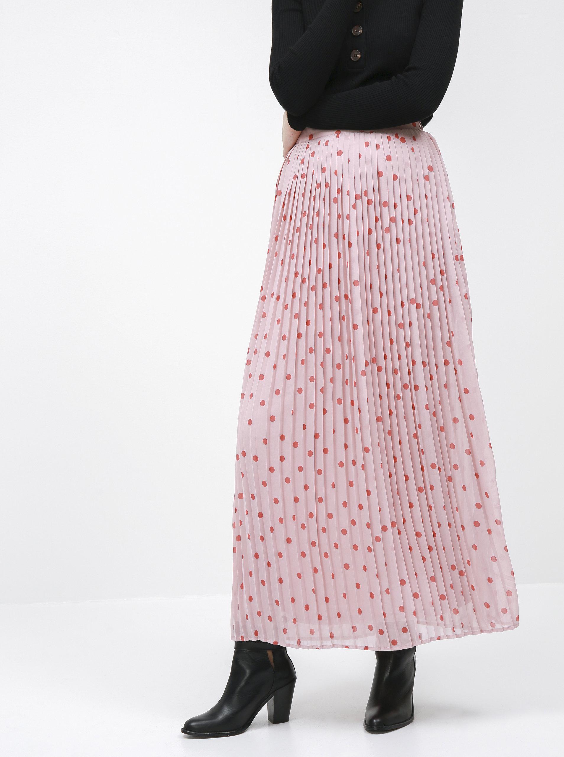 Růžová puntíkovaná plisovaná maxi sukně VILA Yrsa