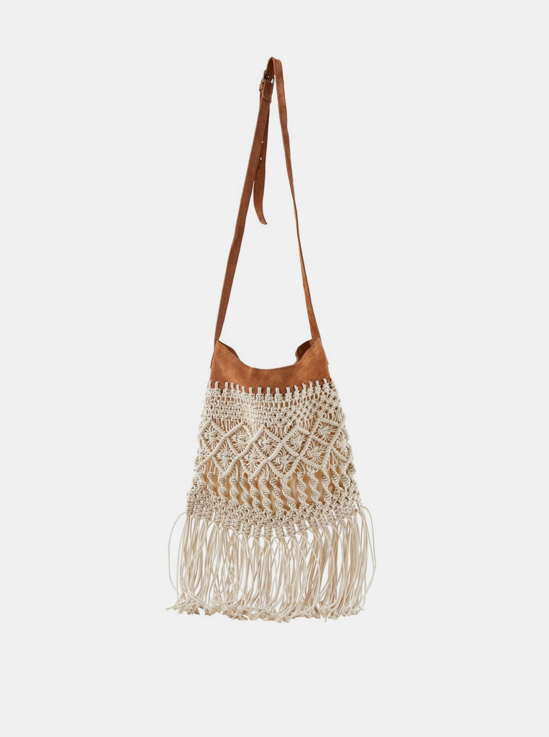 Béžová kabelka s třásněmi Pieces Nella