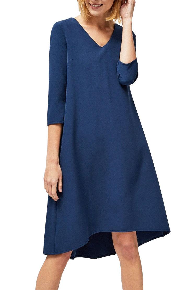 Moodo tmavě modré šaty s tříčtvrtečním rukávem