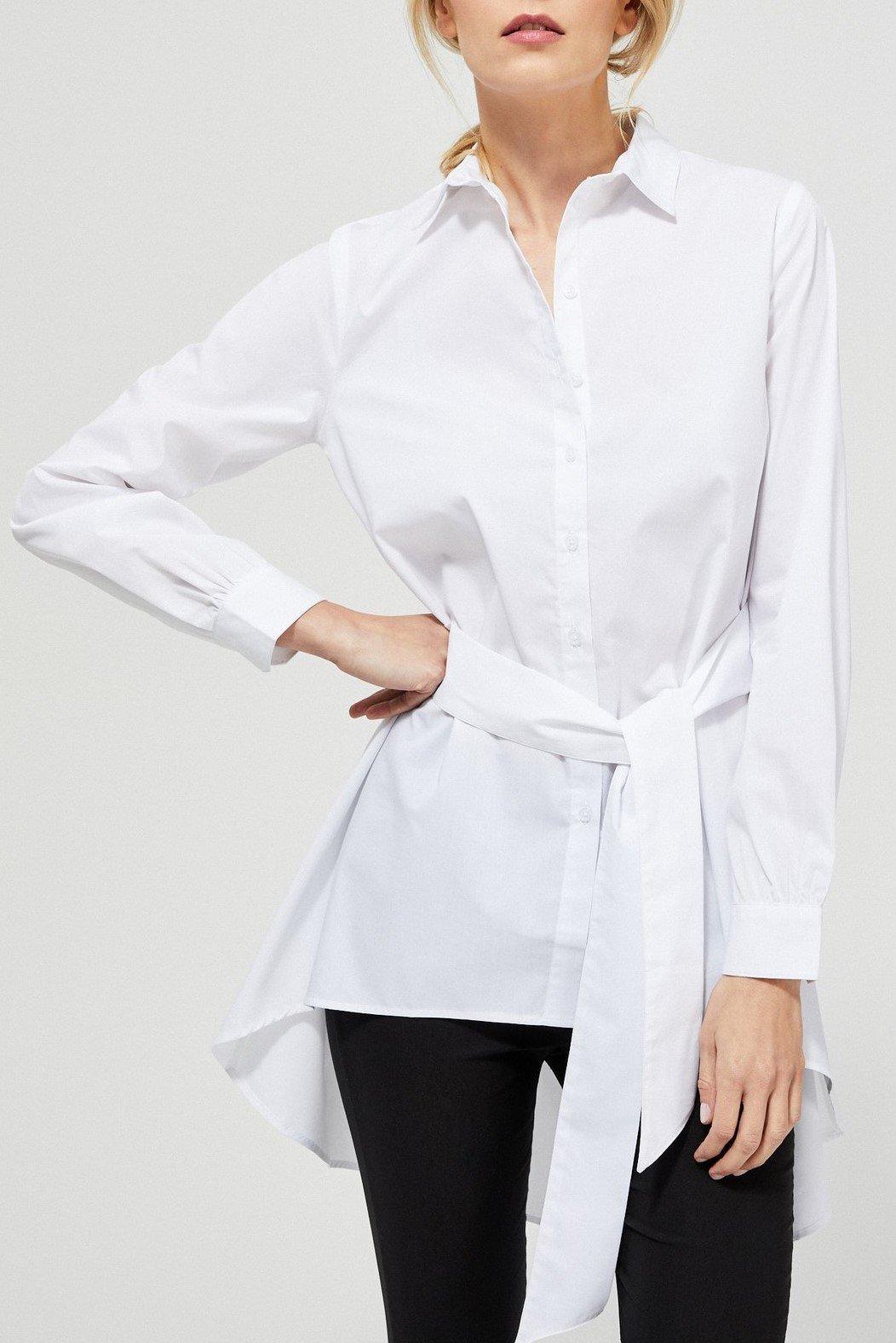 Moodo bílá propínací košile s vázačkou