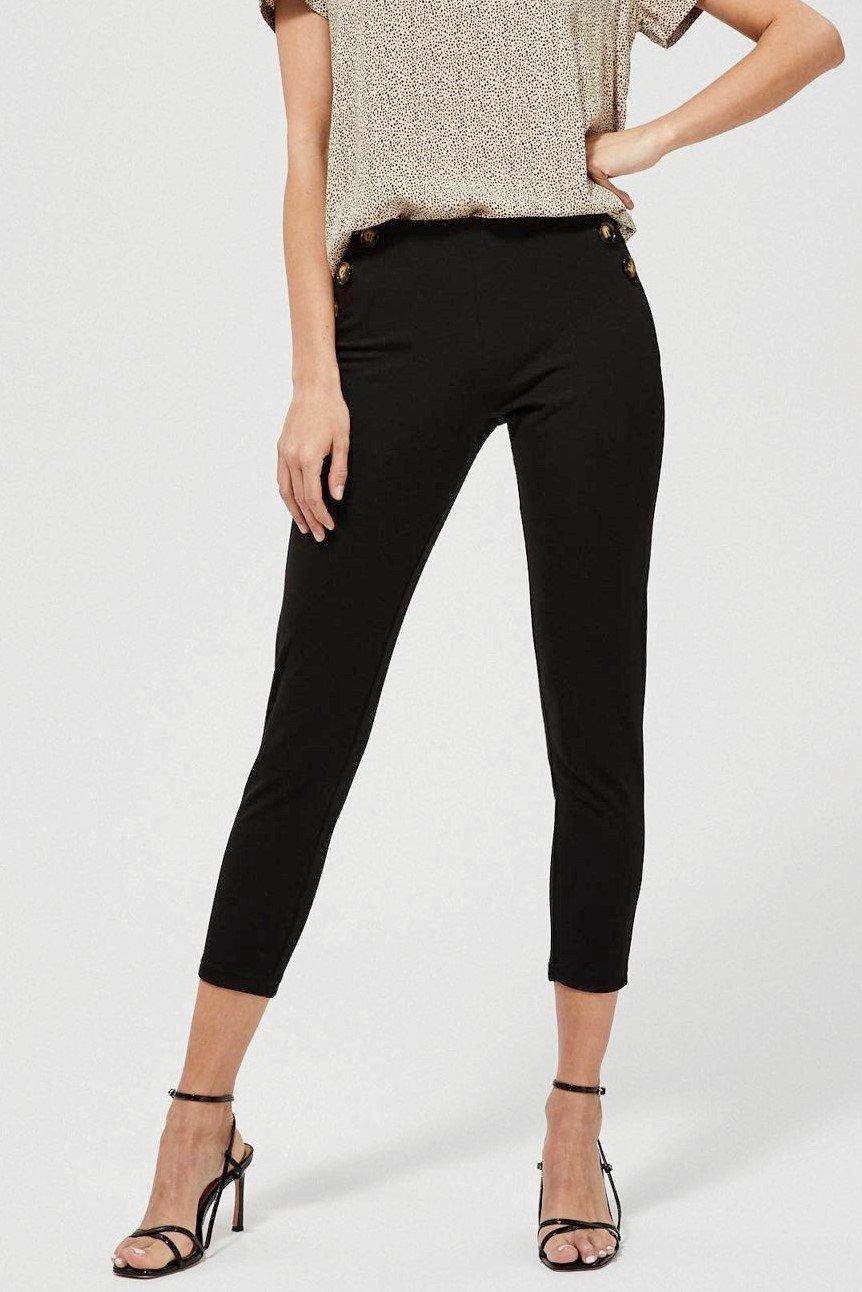 Moodo černé kalhoty s ozdobnými knoflíky