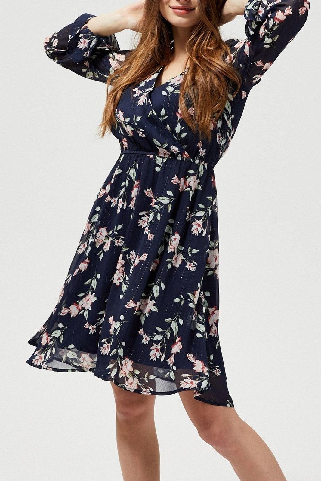 Moodo květinové šaty s transparentními rukávy
