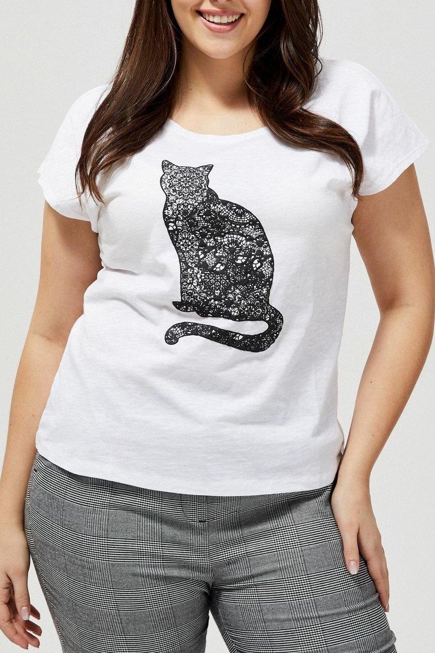 Moodo bílé tričko s kočkou