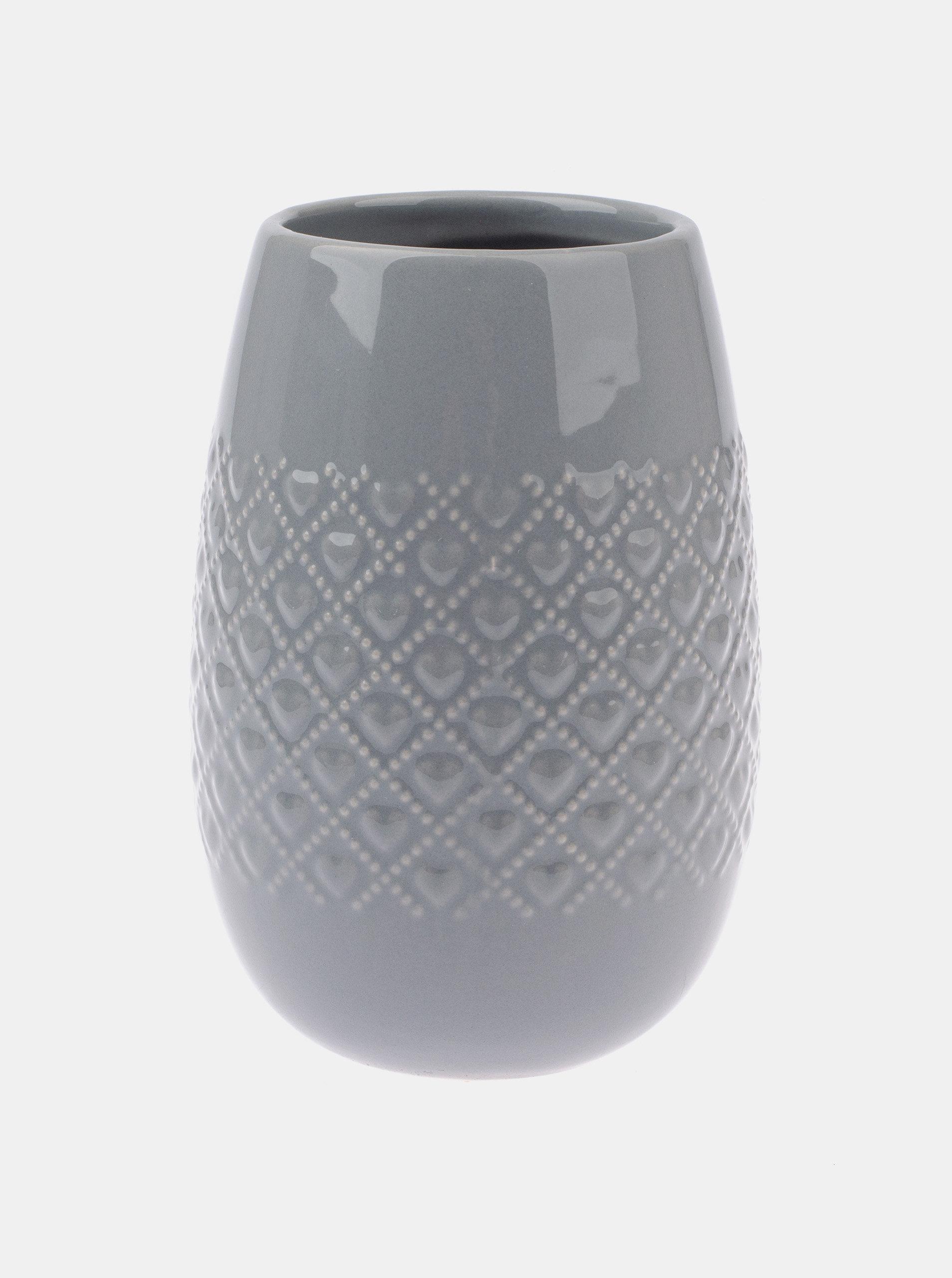 Šedá keramická váza Dakls