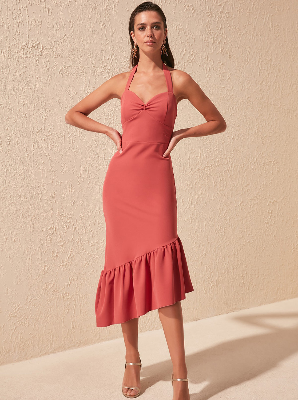 Starorůžové šaty Trendyol