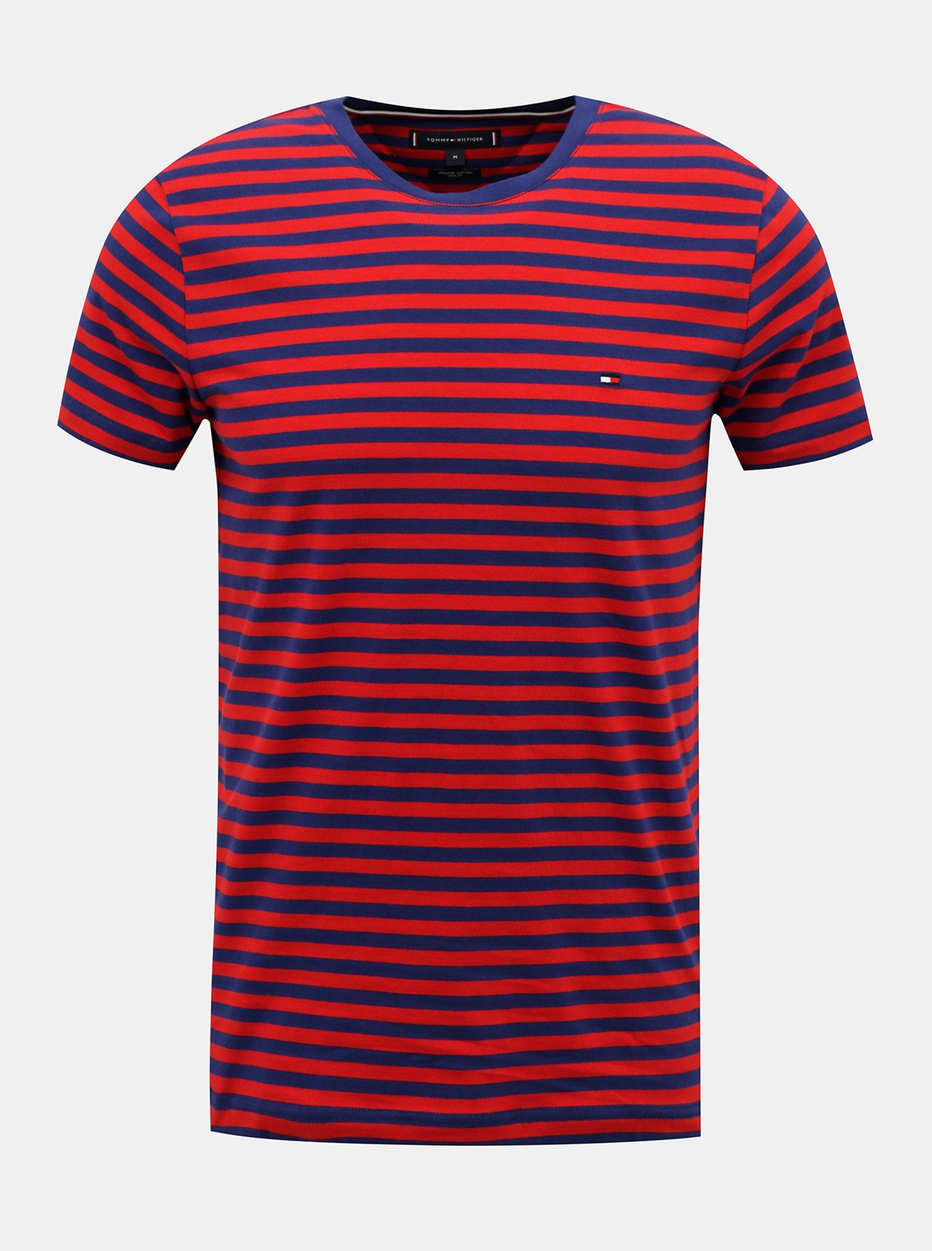 Modro-červené pánské pruhované tričko Tommy Hilfiger