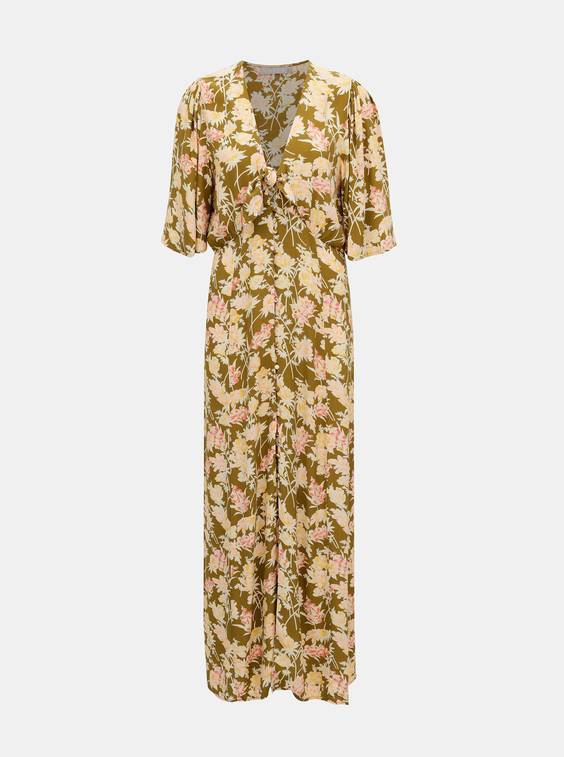 Khaki květované maxi šaty Pieces Polly