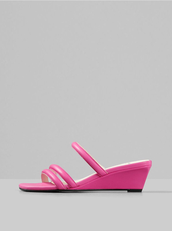 Růžové dámské kožené pantofle na klínku Vagabond Nellie