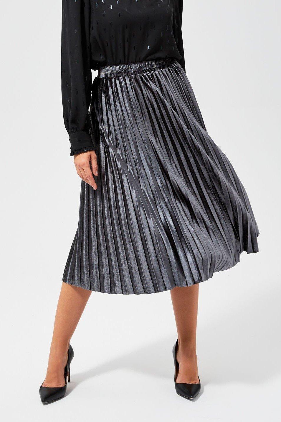 Moodo šedá sametová sukně pod kolena