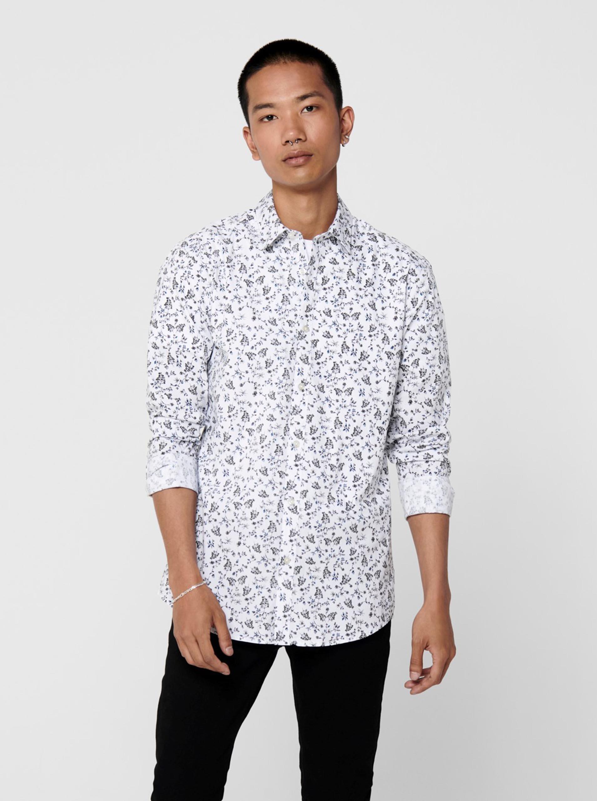 Bílá vzorovaná košile ONLY & SONS Sander