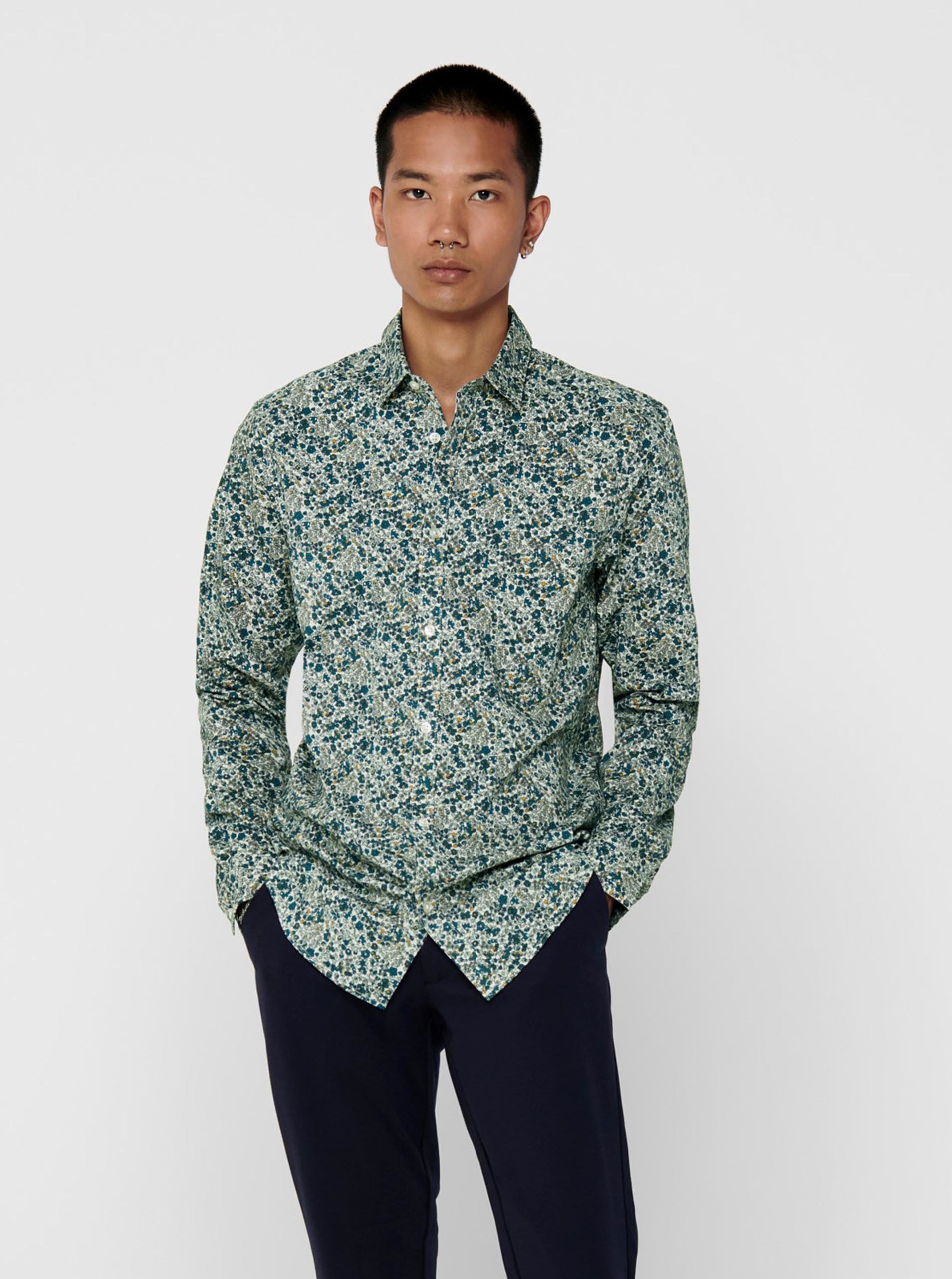 Zelená vzorovaná košile ONLY & SONS Sander