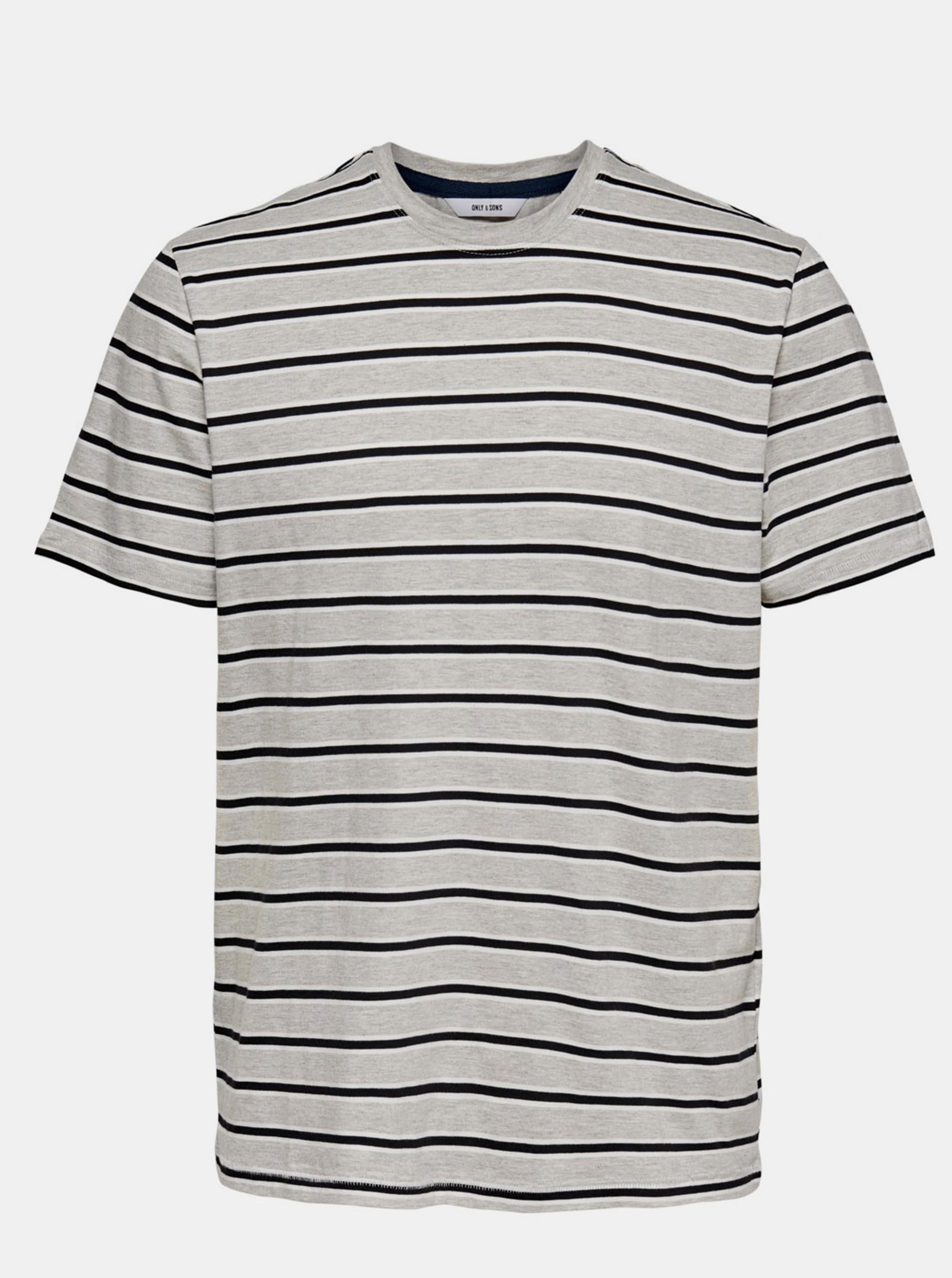 Šedé pruhované tričko ONLY & SONS Mel
