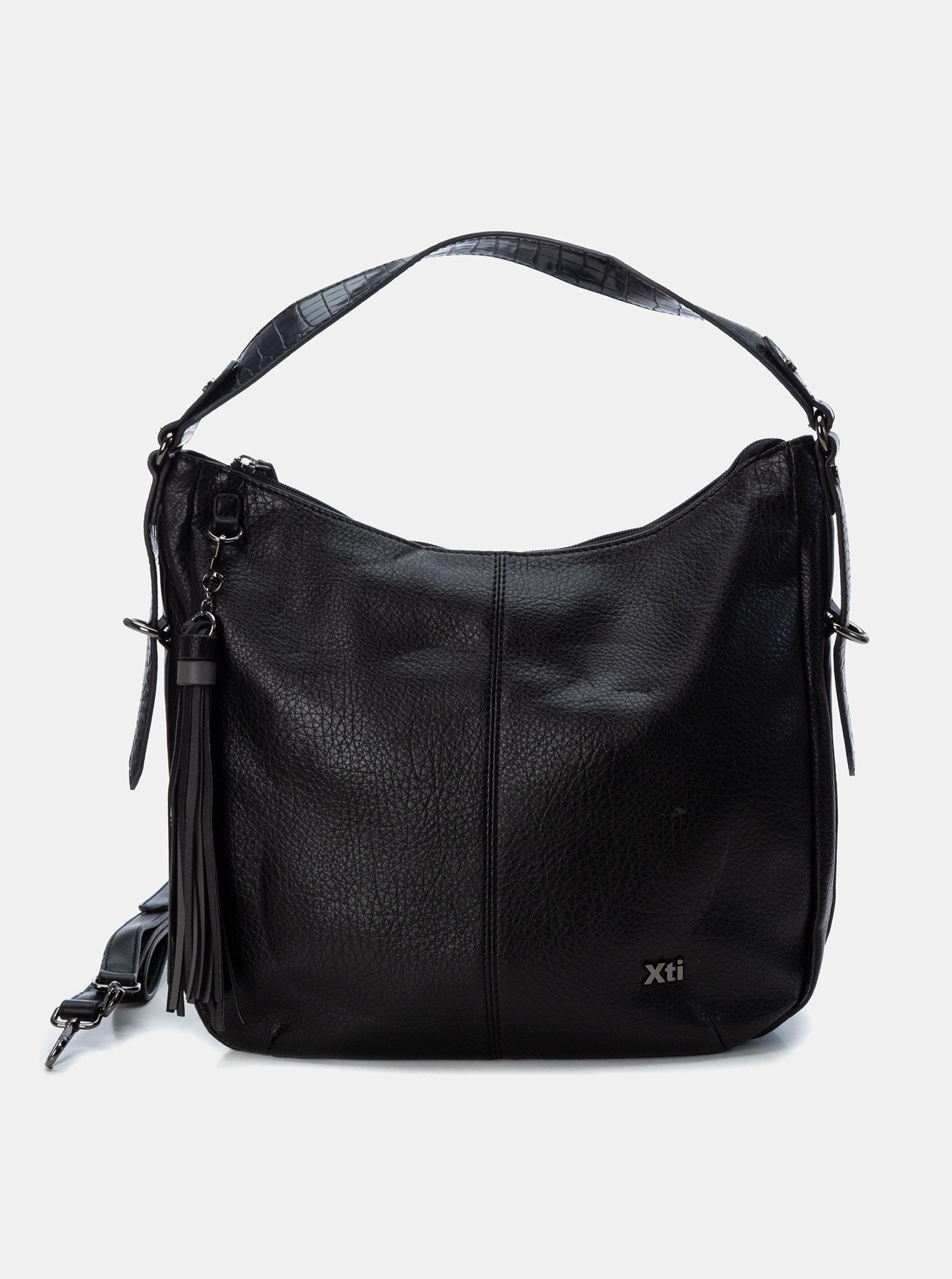 Černá kabelka s třásněmi Xti