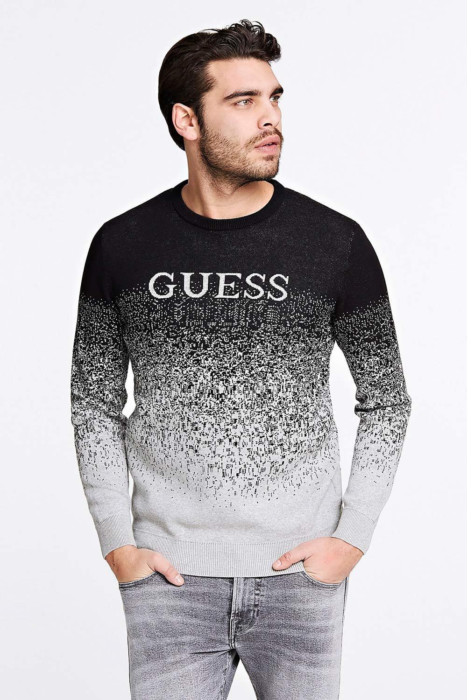 Guess šedo-černý pánský svetr