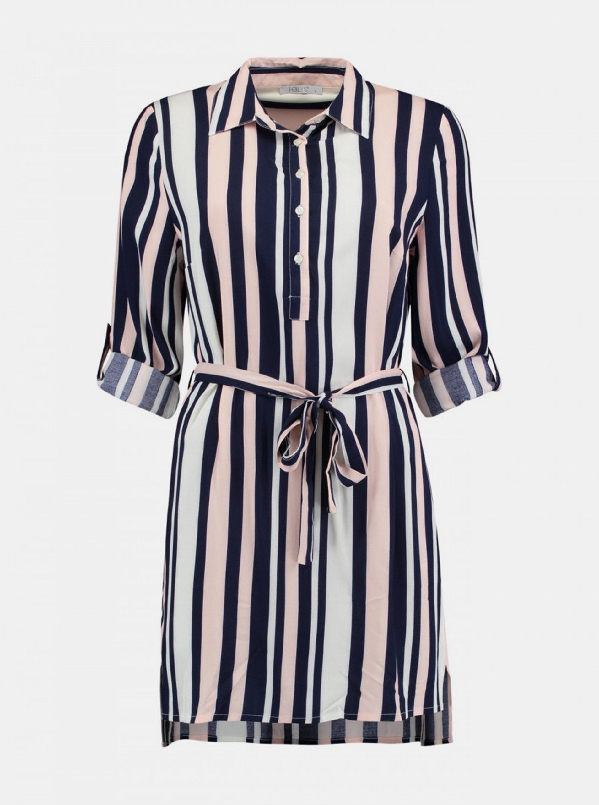 Růžové-modré košilové šaty Haily´s