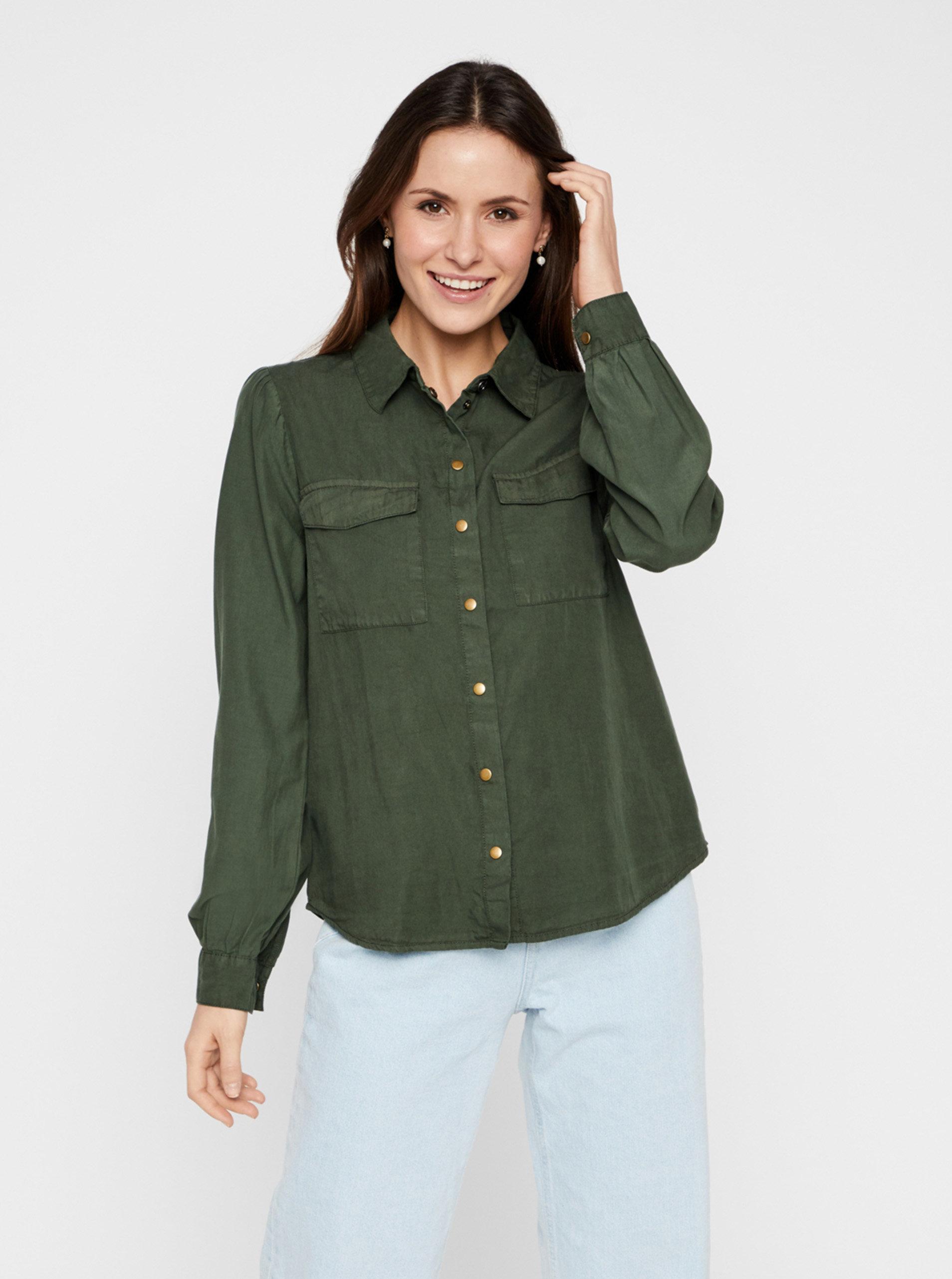 Tmavě zelená košile Pieces Bellis