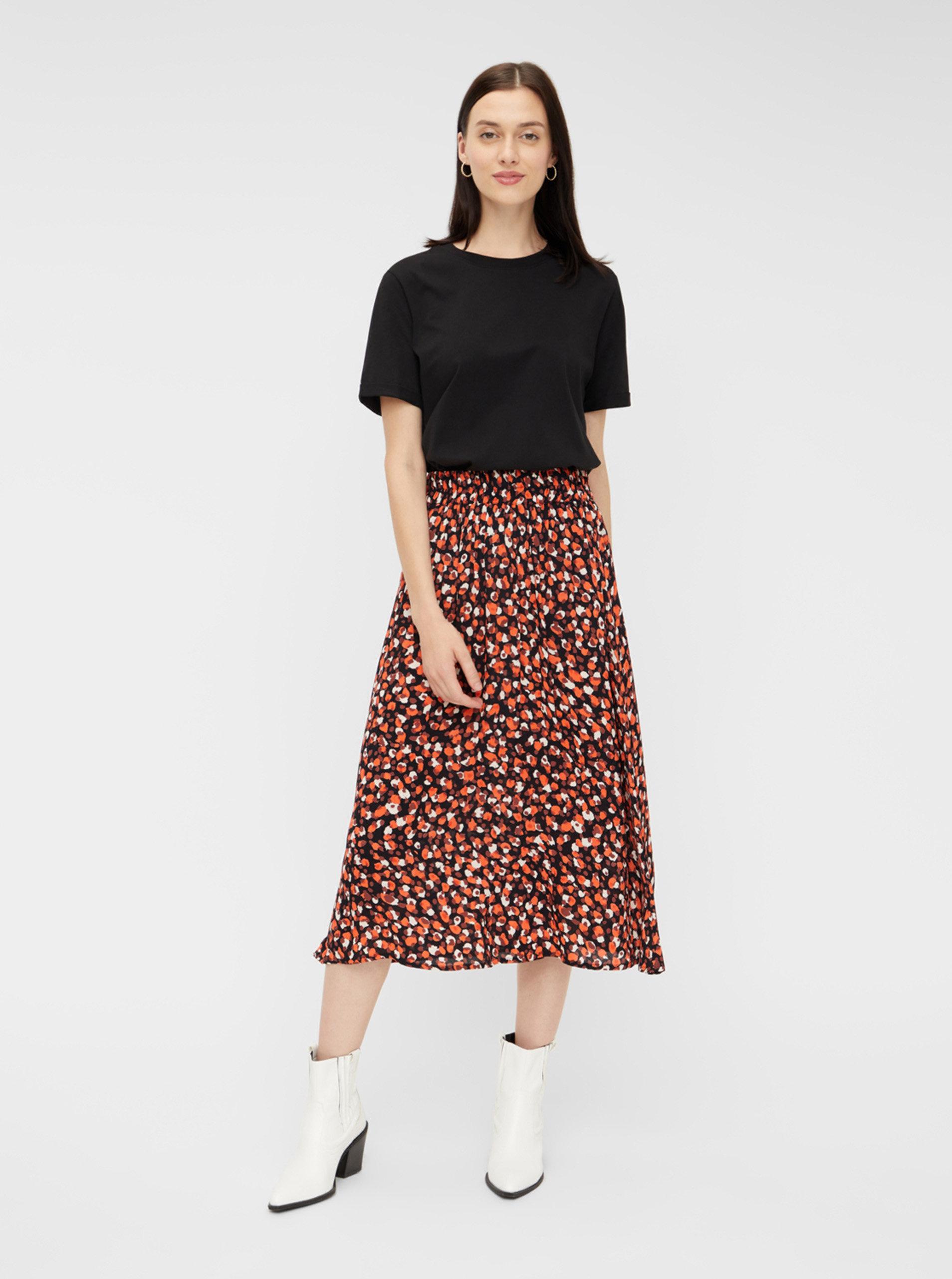 Červená vzorovaná midi sukně Pieces Raya