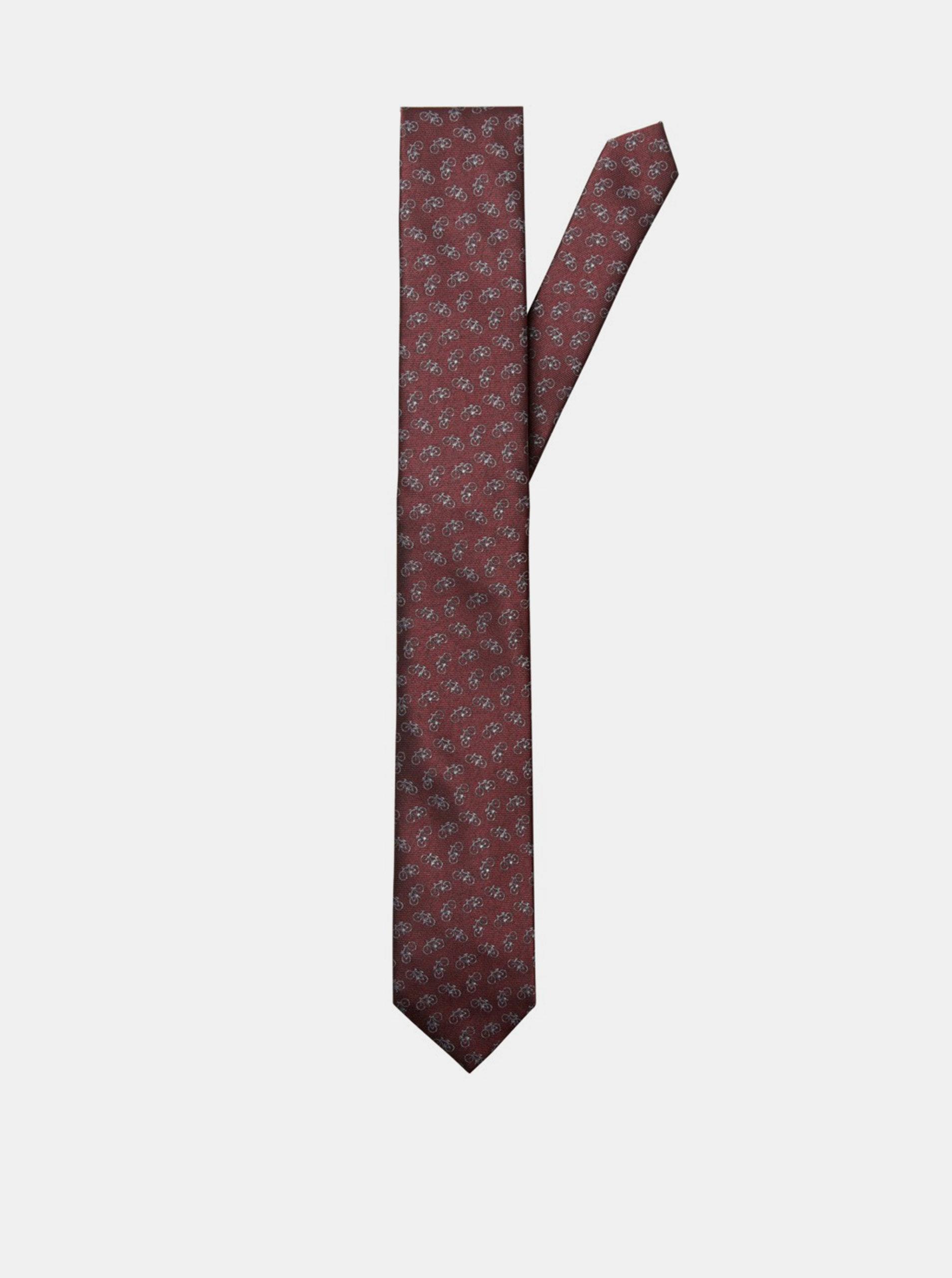 Fotografie Vínová vzorovaná kravata Selected Homme Morten