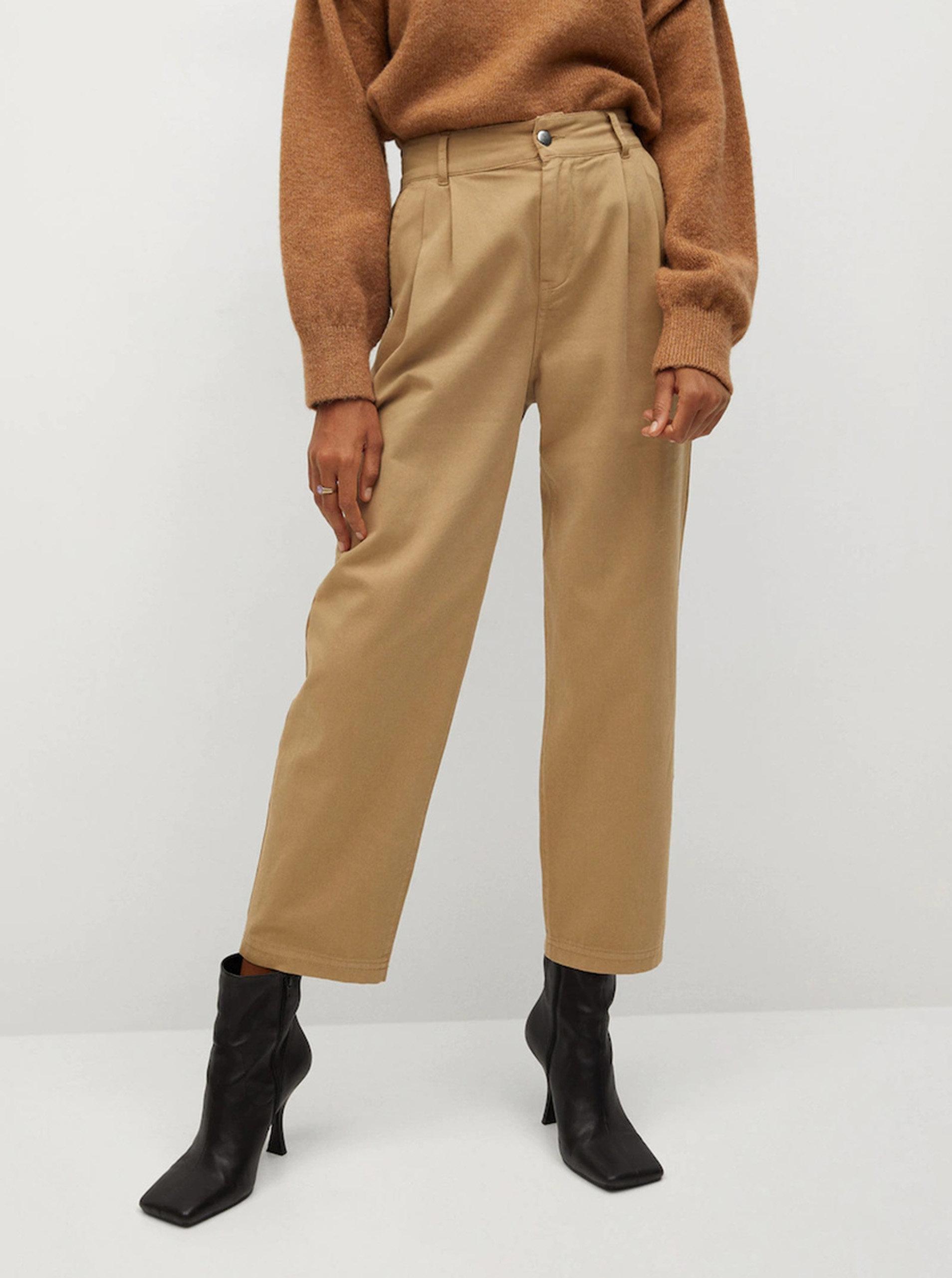 Světle hnědé zkrácené kalhoty Mango Relax