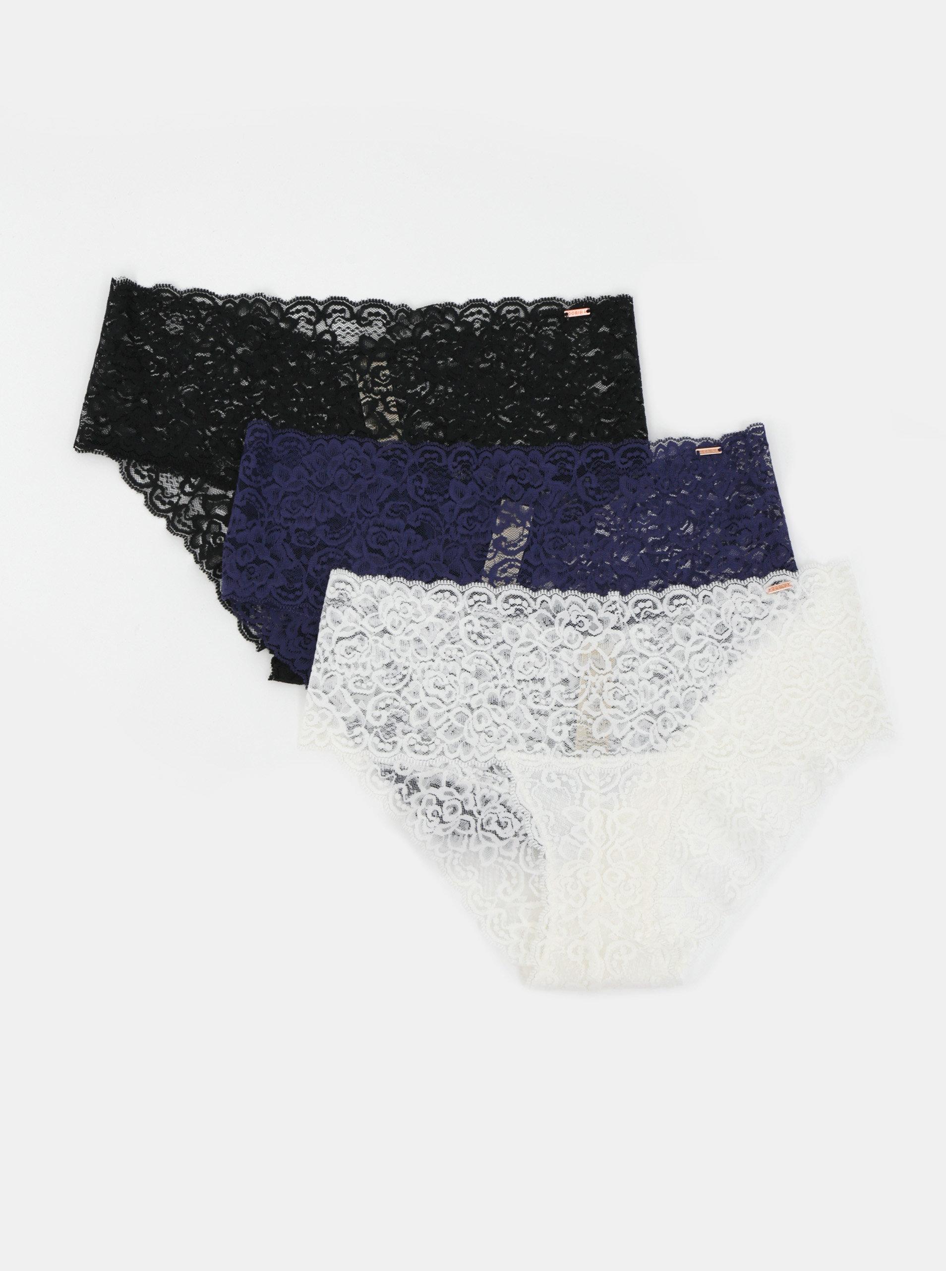 Sada troch krajkových nohavičiek v čiernej, modrej a bielej farbe DORINA