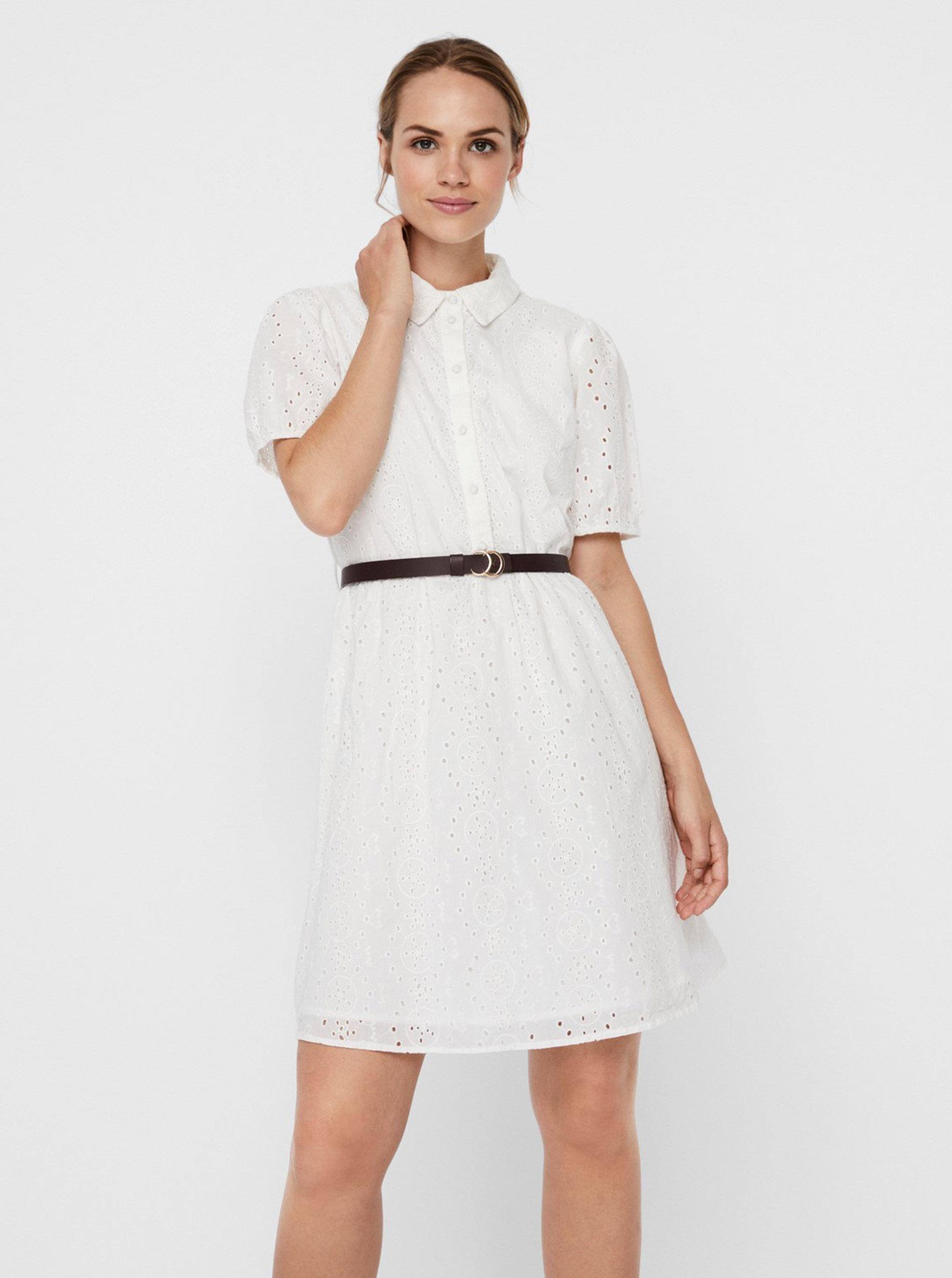 Biele košeľové šaty s madeirou VERO MODA Ellie