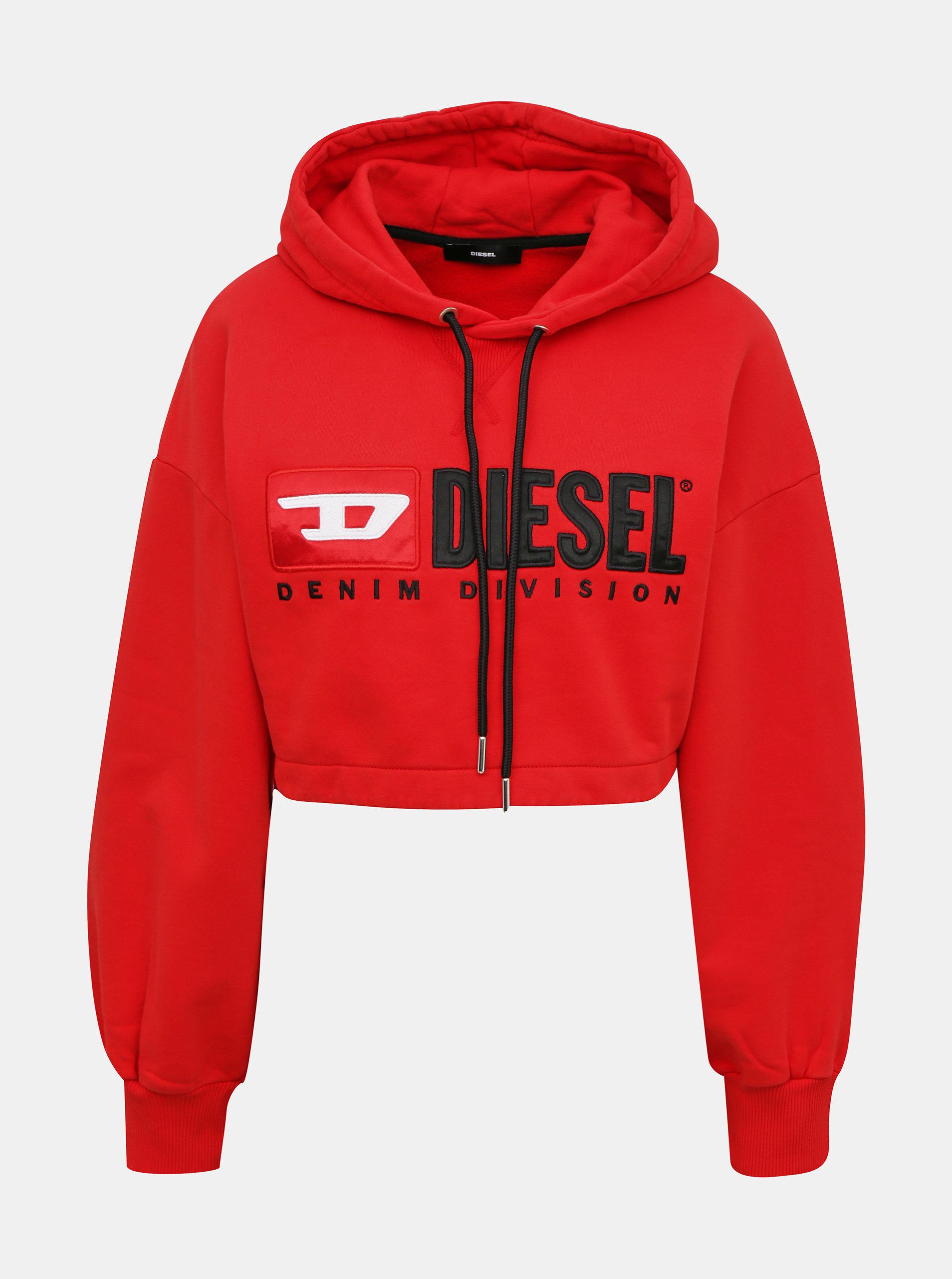 Červená dámská krátká mikina s kapucí Diesel