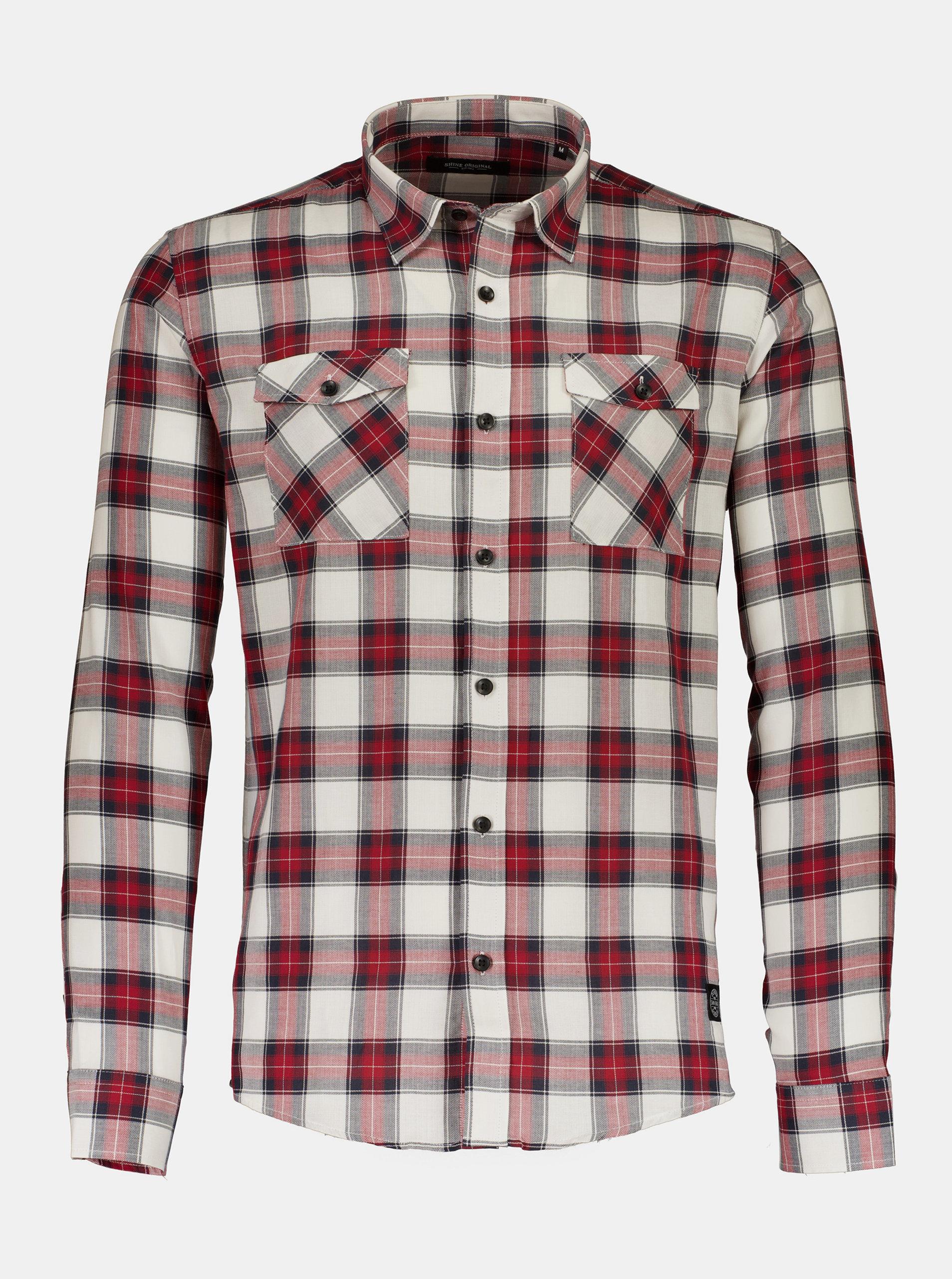 Šedo-červená kostkovaná košile Shine Original