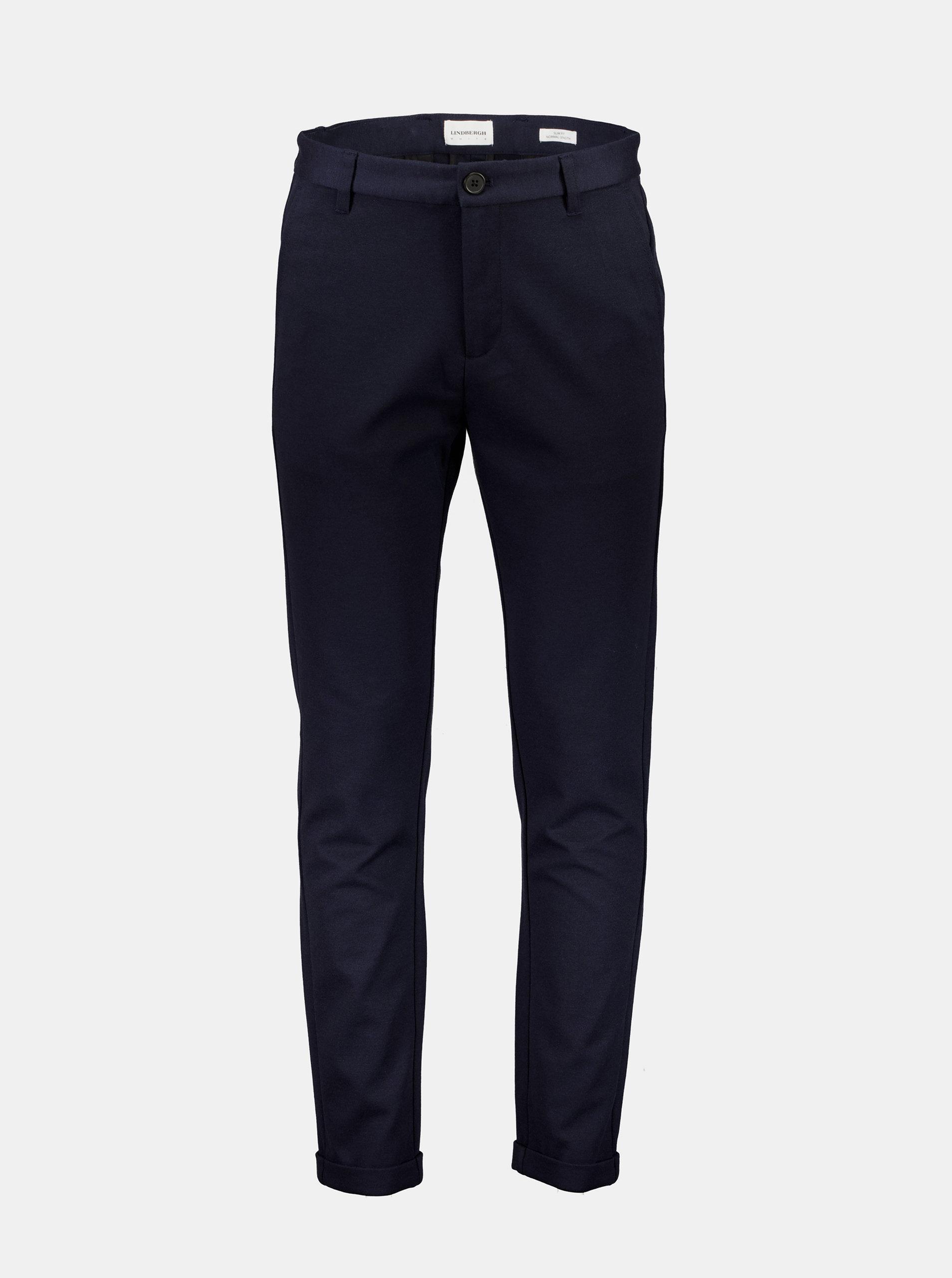 Tmavě modré slim fit kalhoty Lindbergh