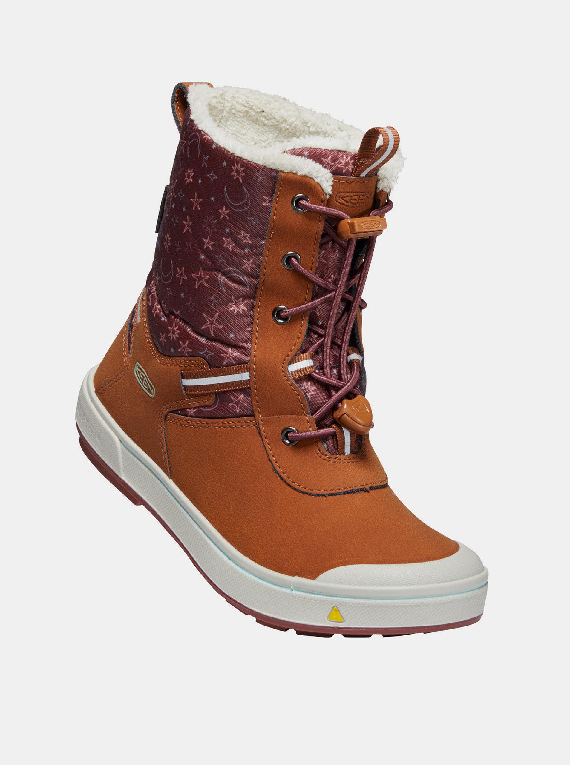 Hnědé holčičí kožené zimní boty s umělým kožíškem Keen